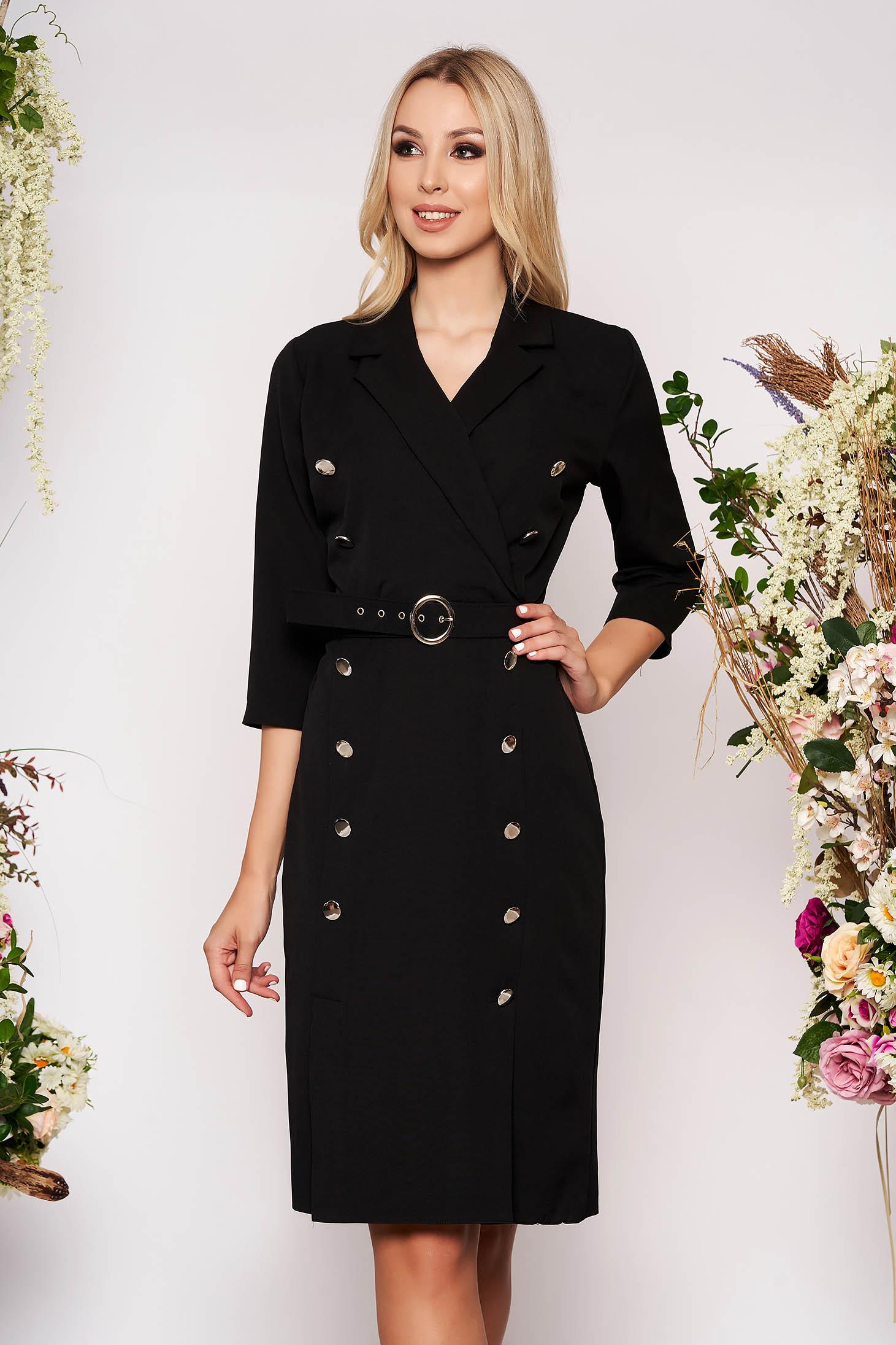 Rochie neagra midi eleganta tip creion din stofa subtire cu maneci trei-sferturi si accesoriu tip curea