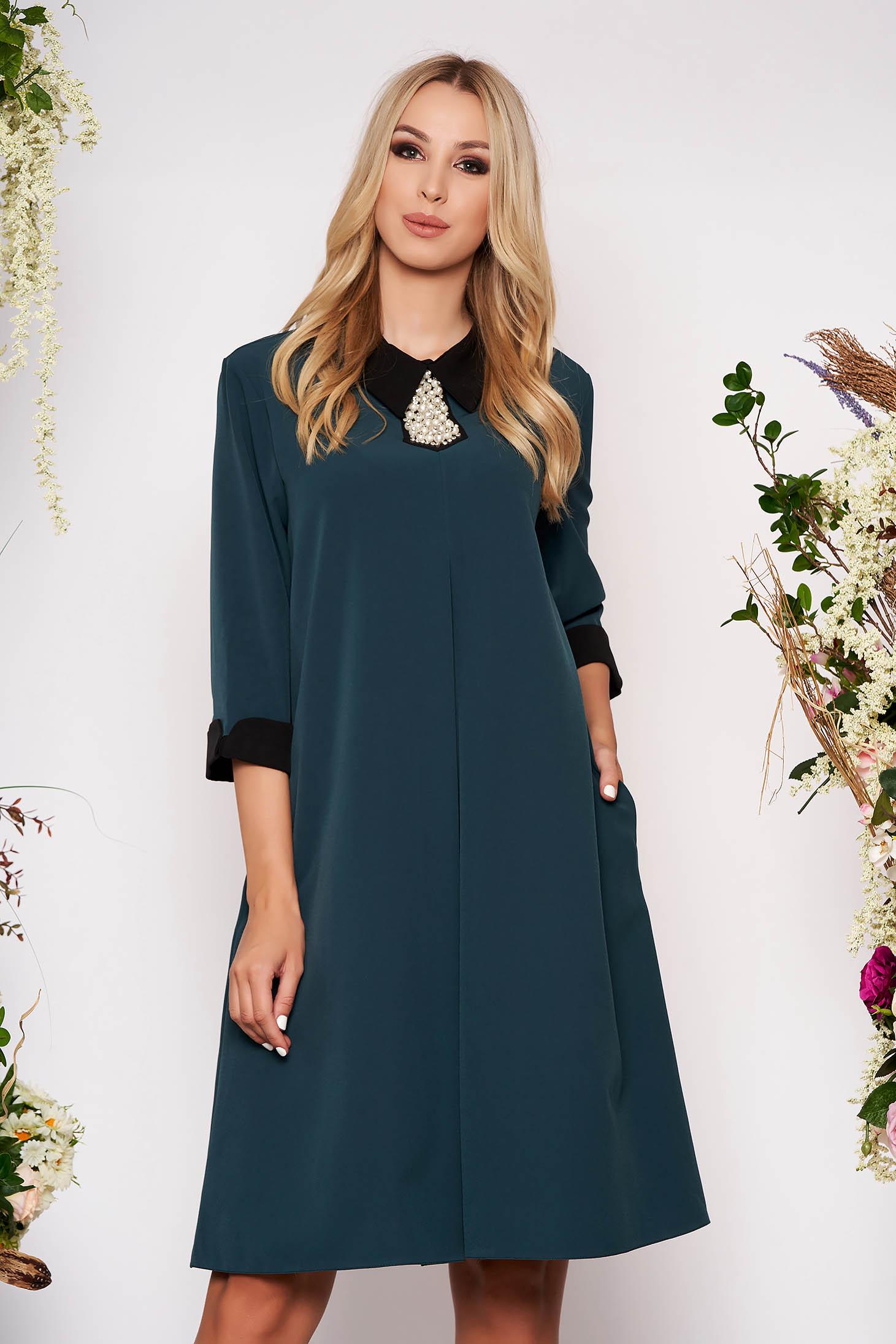 Rochie verde petrol midi eleganta cu croi larg din stofa subtire cu buzunare cu guler si maneci trei-sferturi