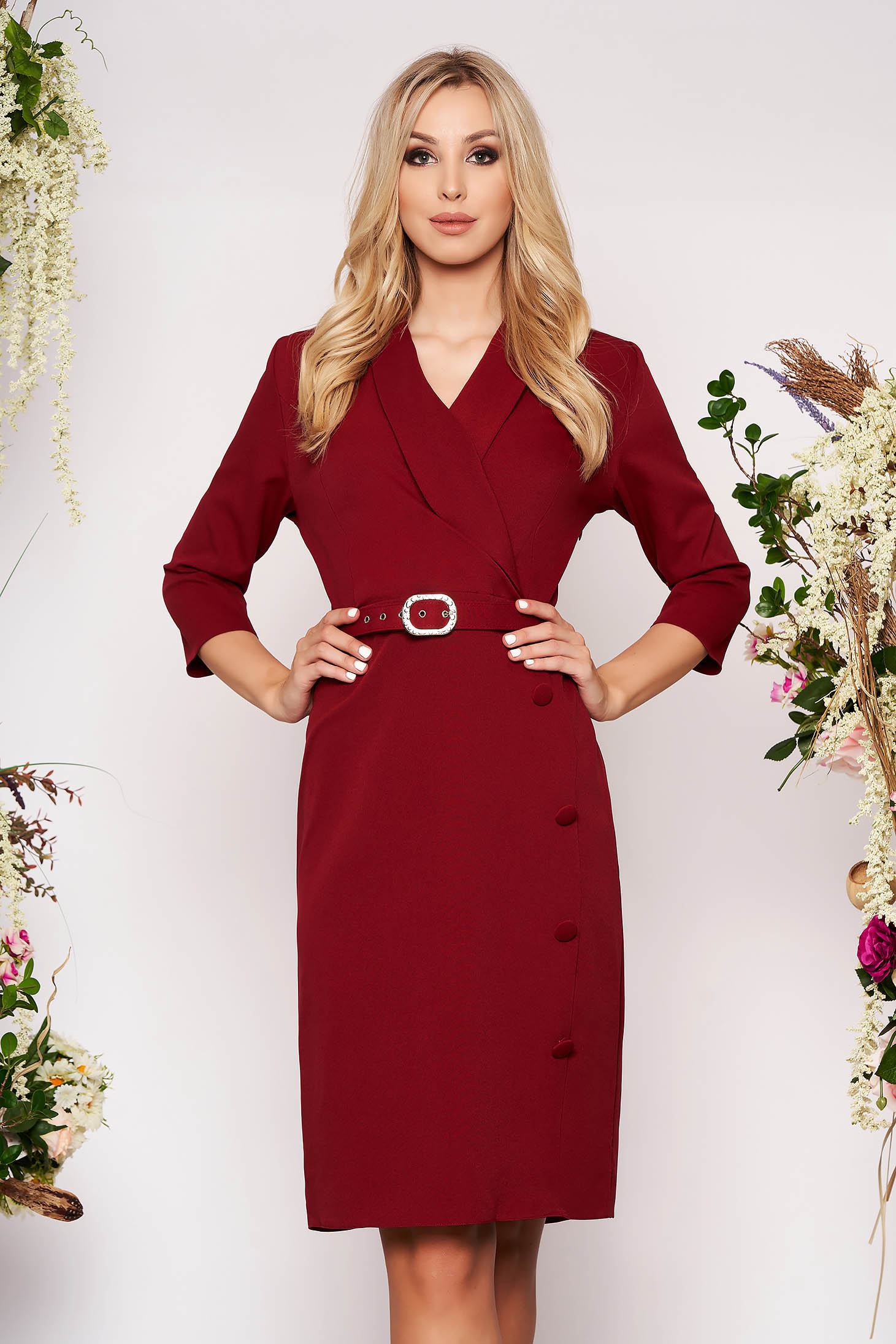 Burgundy dress office midi straight cloth with 3/4 sleeves accessorized with belt