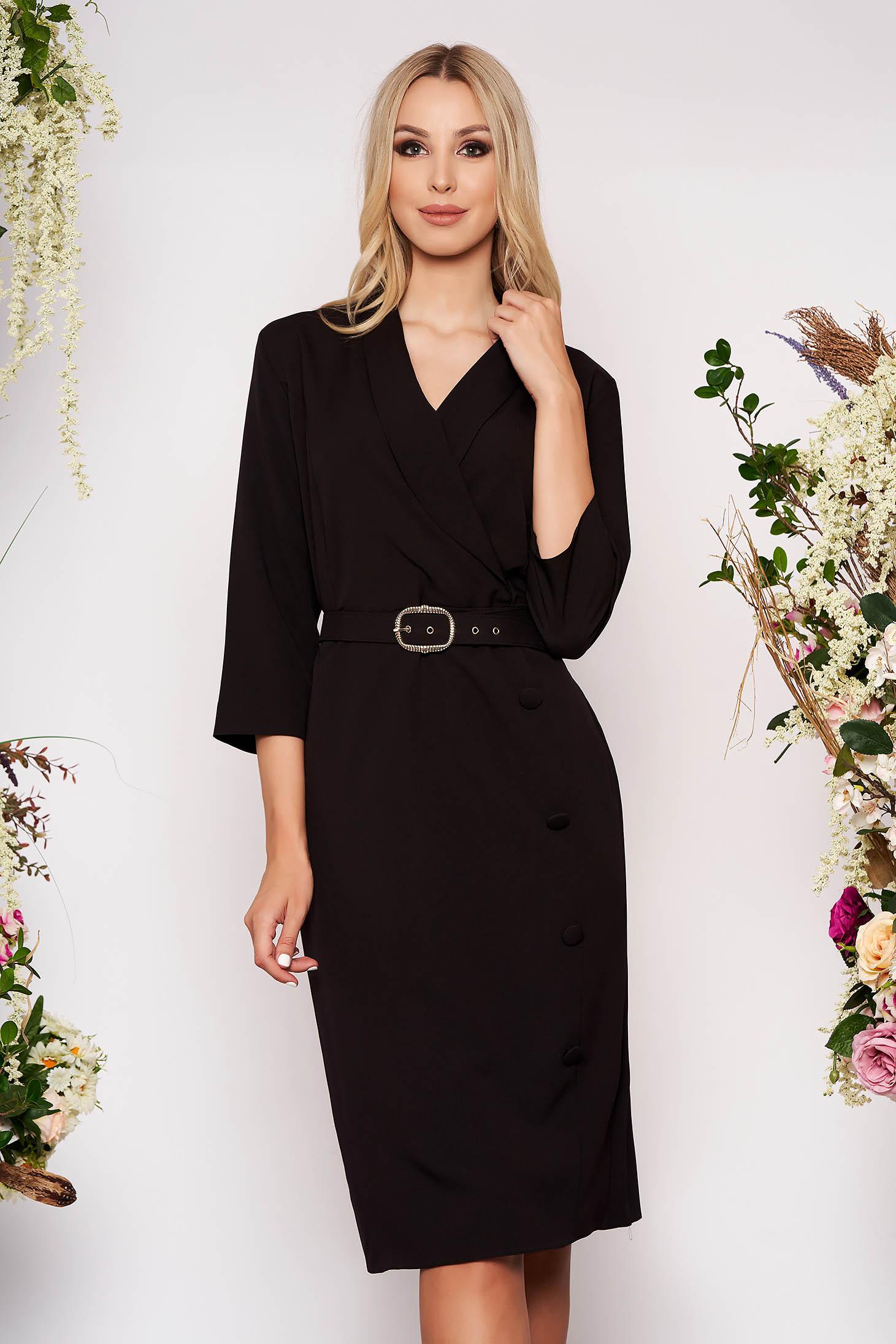 Rochie neagra office midi cu un croi drept din stofa cu maneci trei-sferturi cu accesoriu tip curea