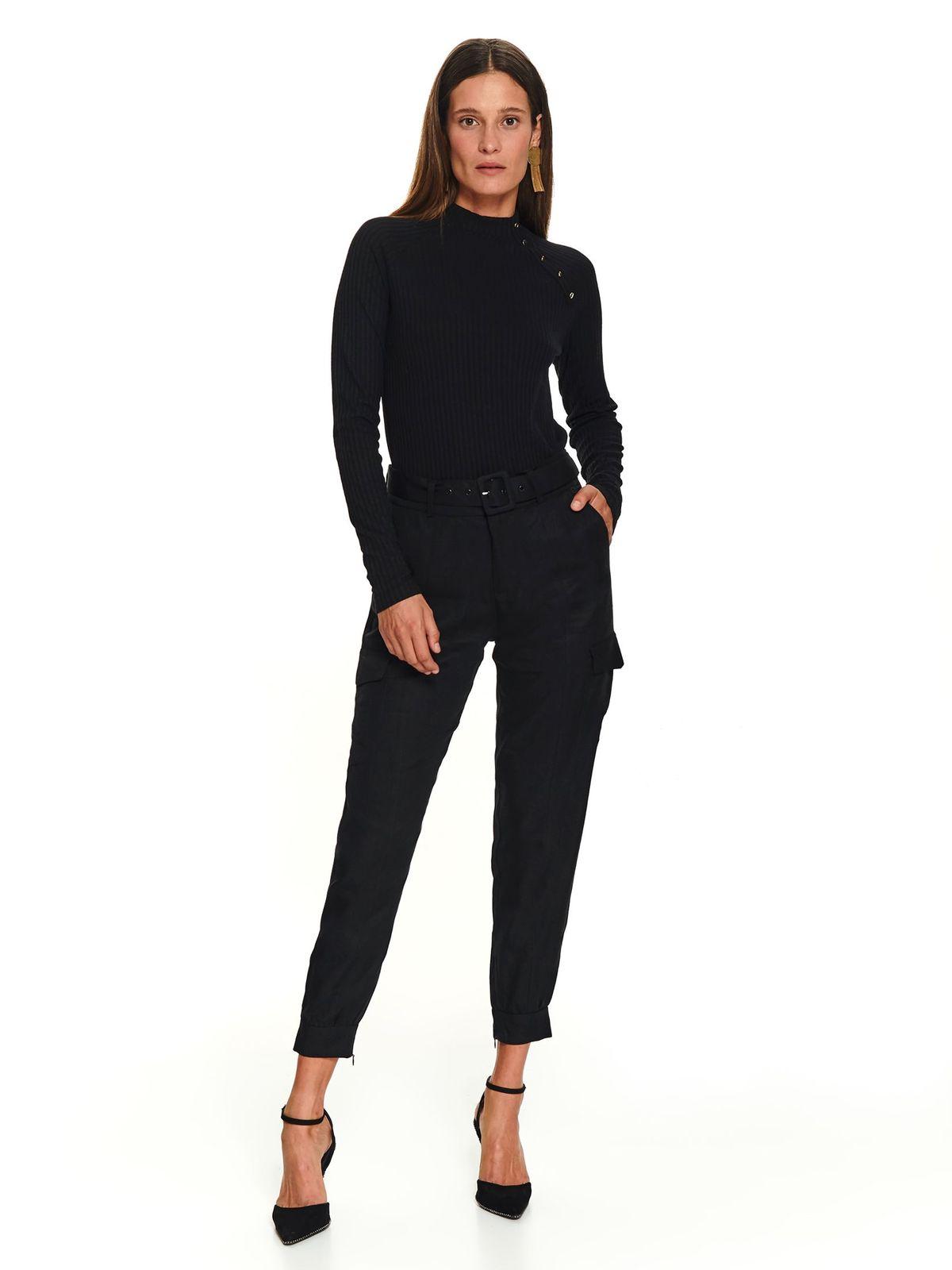 Pantaloni Top Secret negri casual lunga cu buzunare in fata si laterale cu accesoriu tip curea