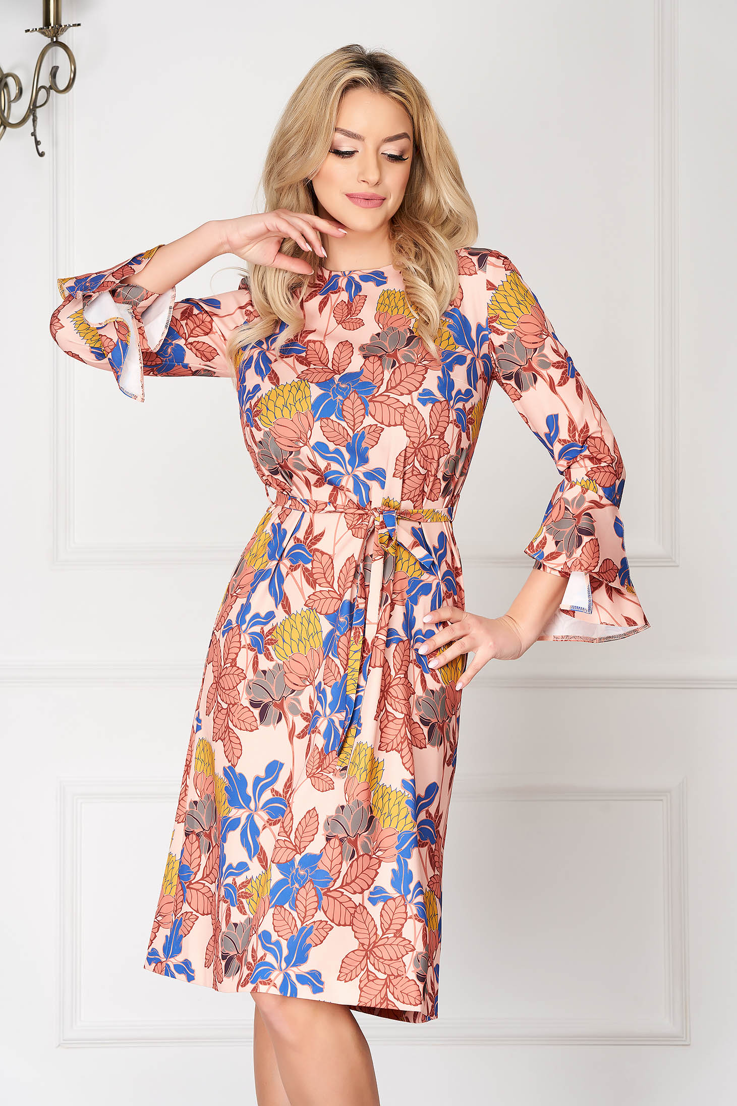 Cream dress elegant midi scuba detachable cord long sleeved with bell sleeve with floral print