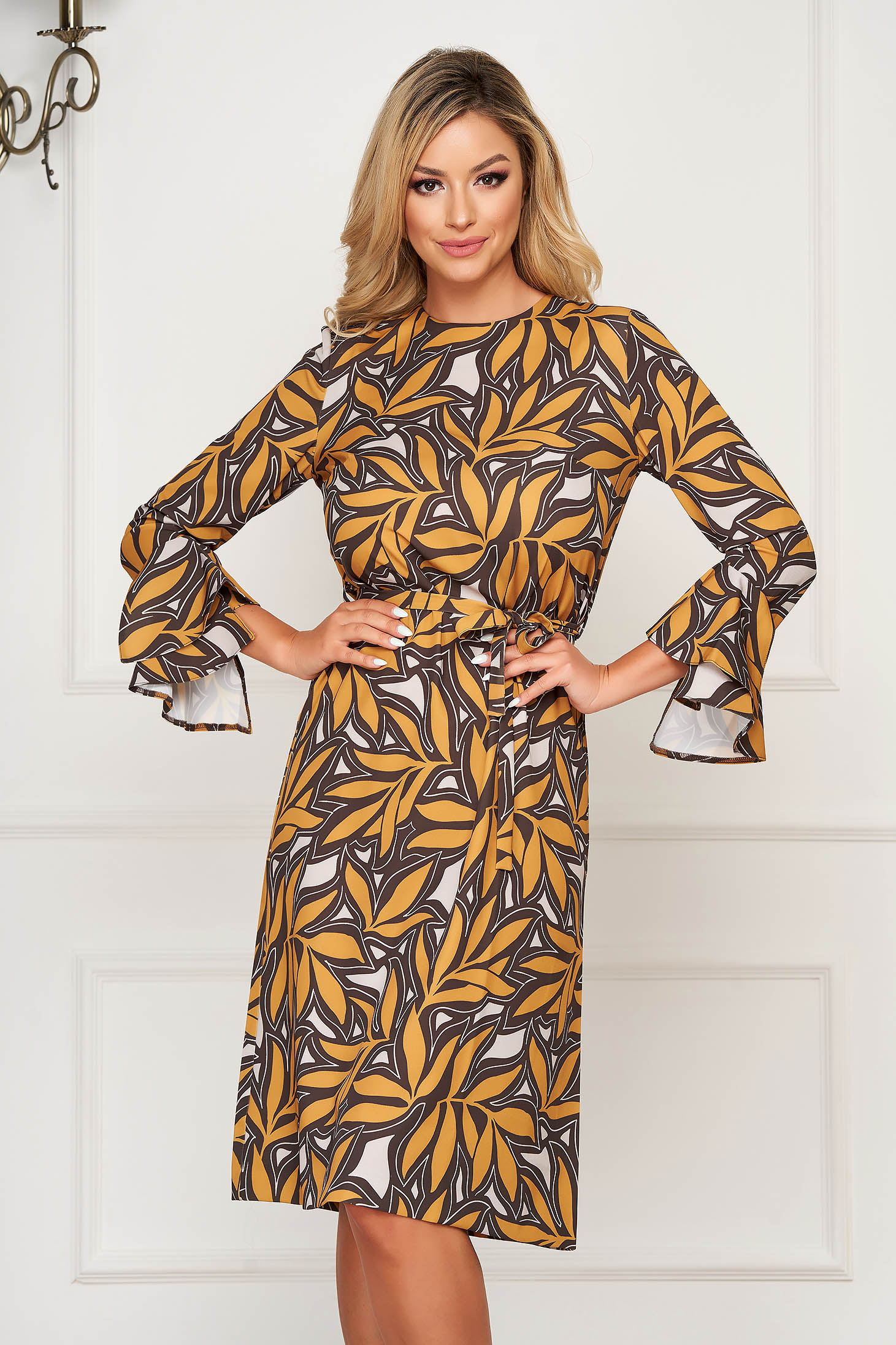Mustard dress elegant midi scuba detachable cord long sleeved with bell sleeve with floral print