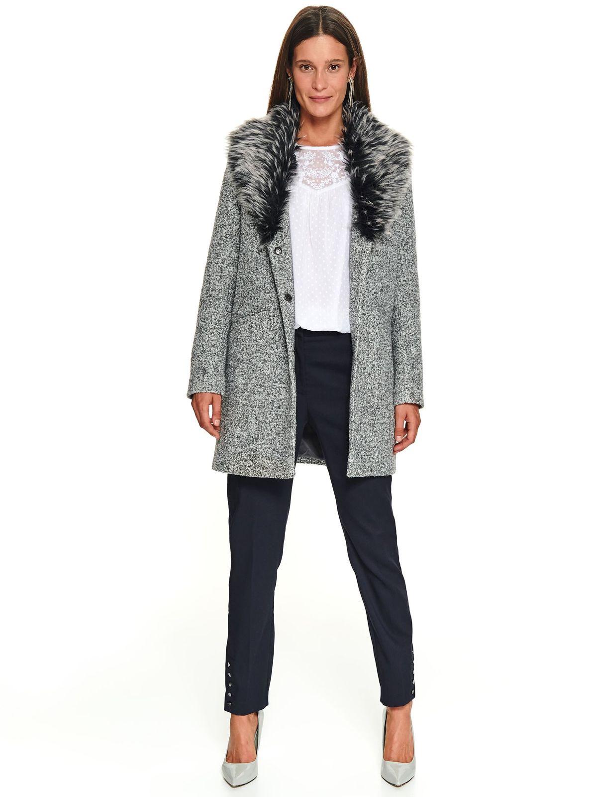 Palton Top Secret piersica casual cu croi larg cu guler din blana ecologica