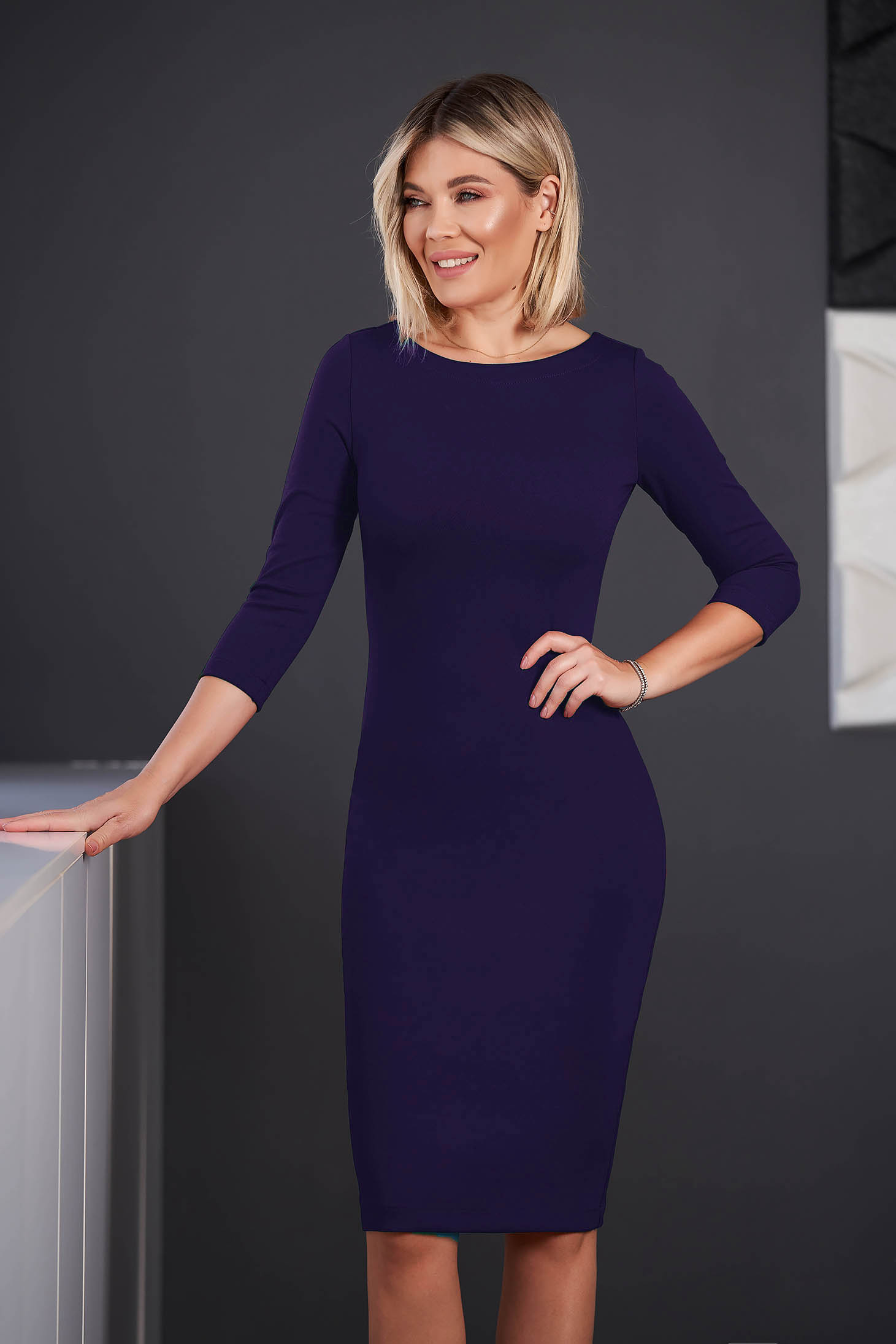 StarShinerS purple dress office midi pencil from elastic fabric with 3/4 sleeves