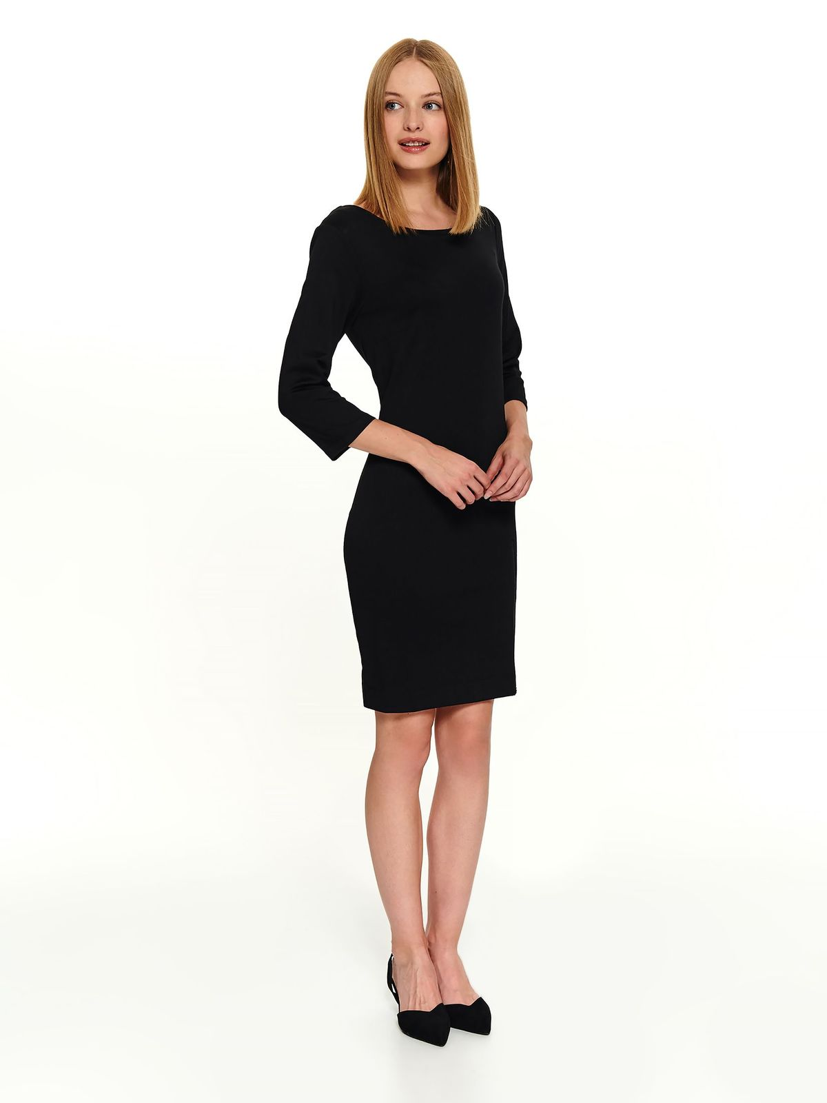 Black dress office short cut with 3/4 sleeves frontal slit back zipper fastening