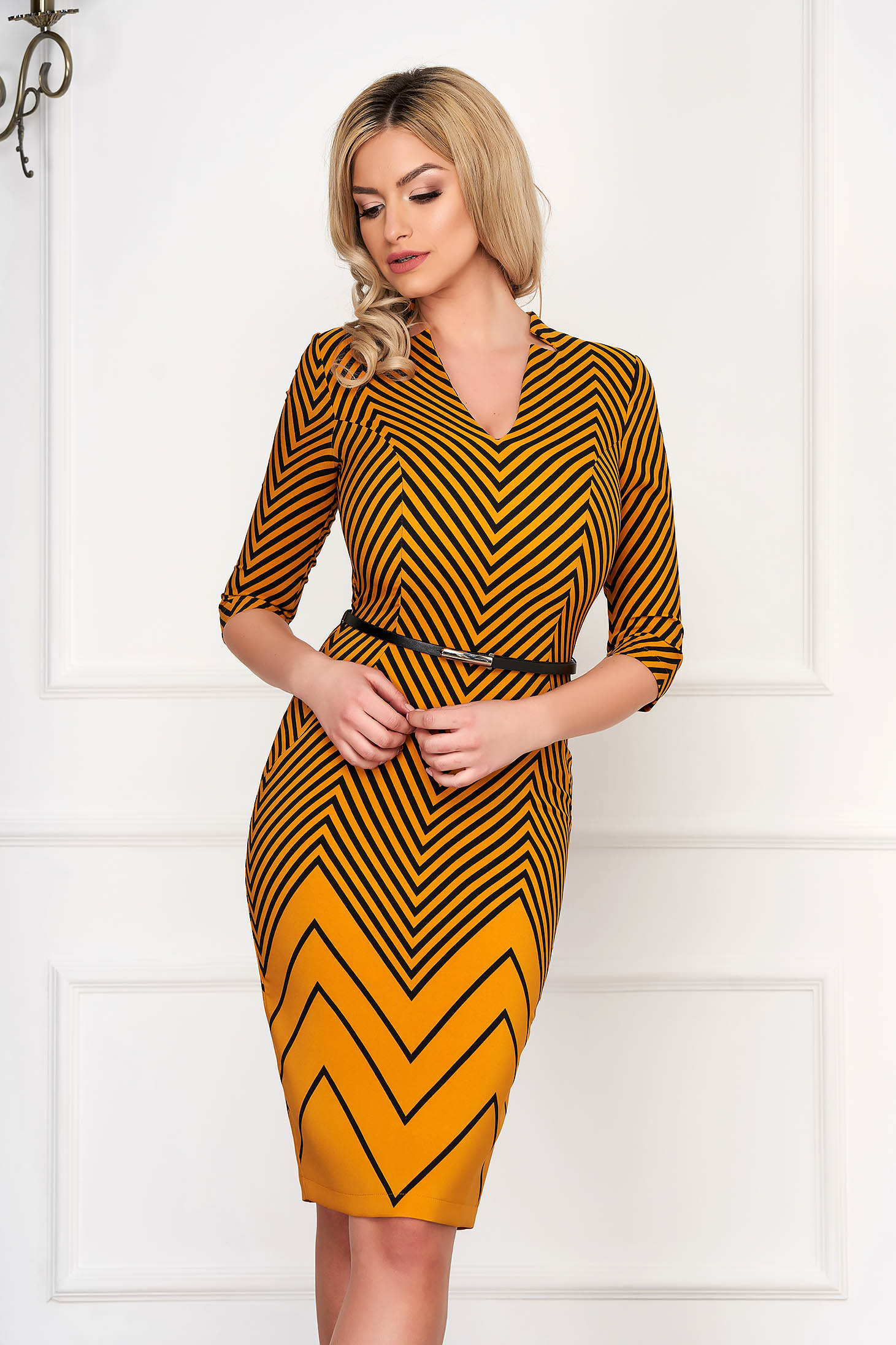 StarShinerS mustard dress elegant midi pencil with v-neckline cloth with graphic details