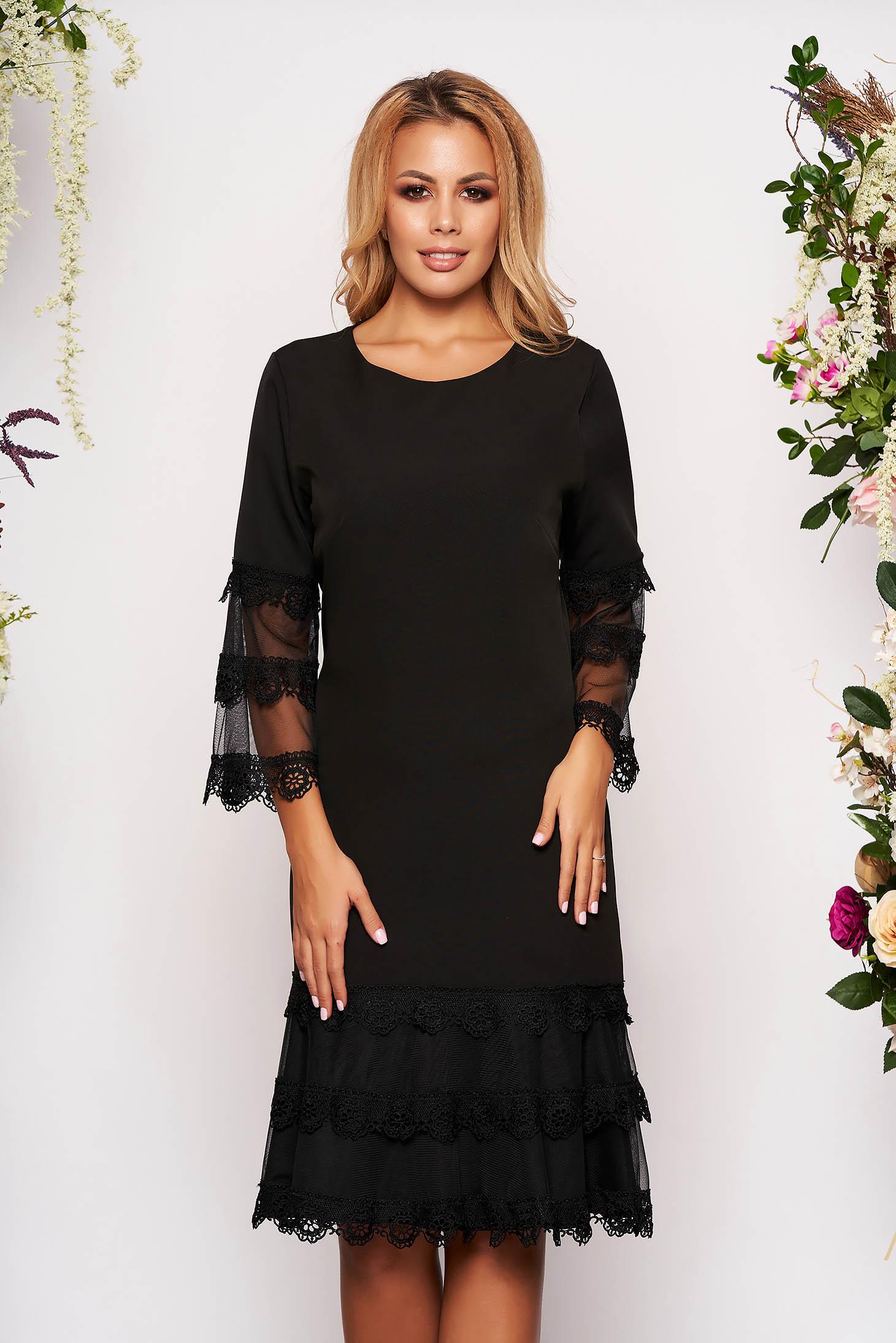 Rochie neagra midi eleganta cu croi in a din stofa cu maneci trei-sferturi tip clopot captusita pe interior