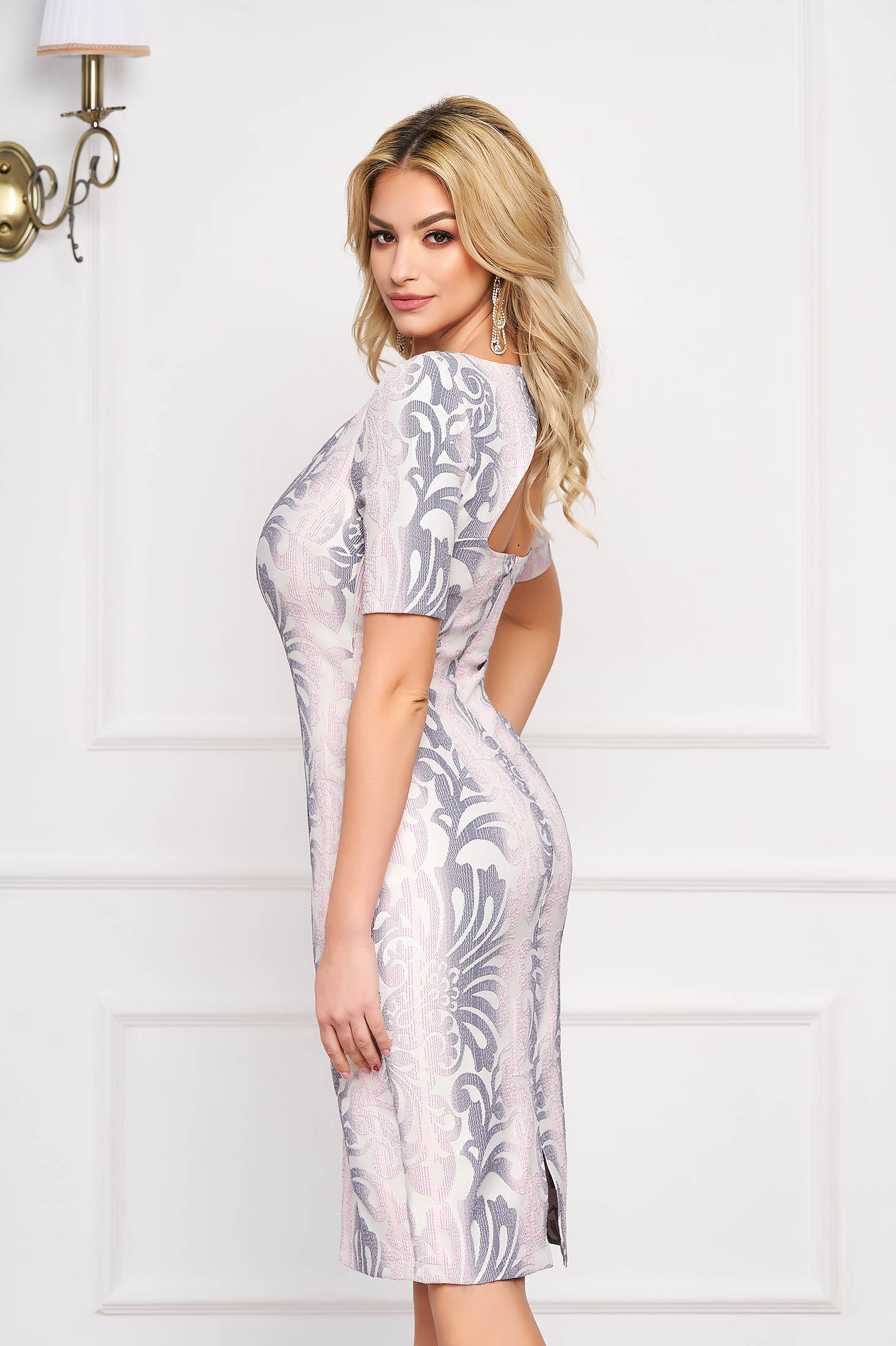 StarShinerS lightpink elegant pencil dress bareback cloth