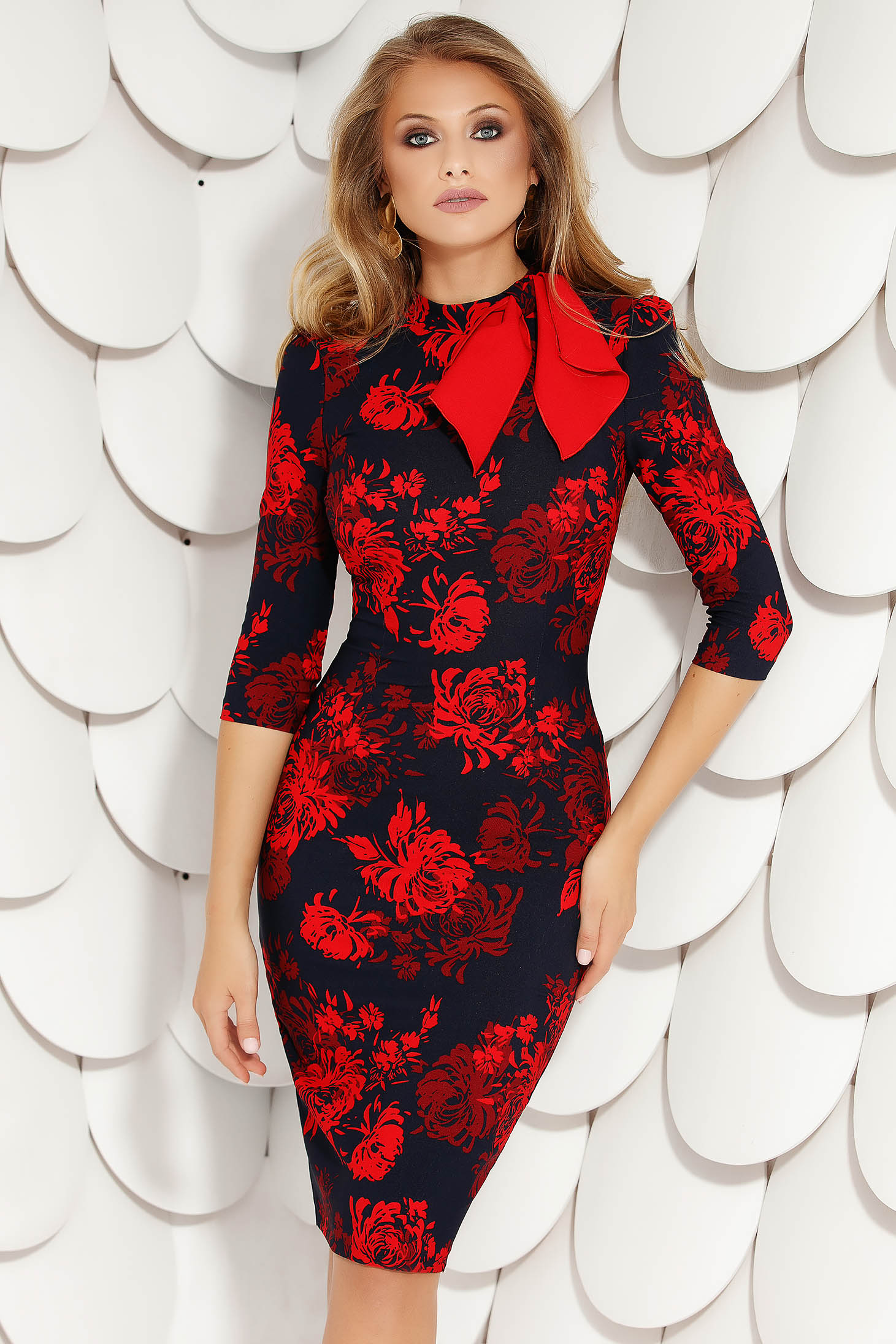 Red dress elegant midi pencil cloth with floral print with turtle neck with bow thin fabric