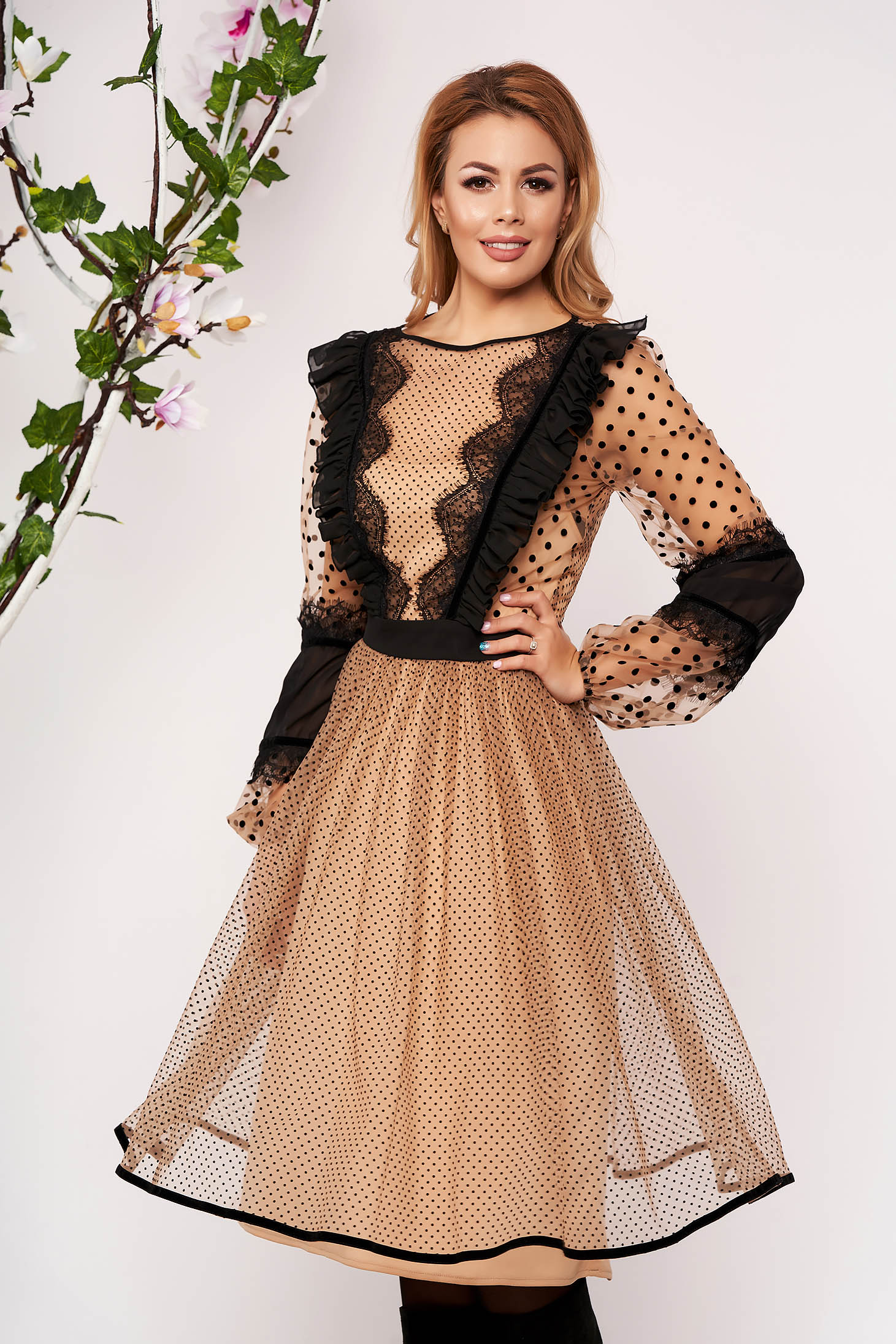 Cream dress occasional midi cloche long sleeved with ruffles on the chest from veil fabric dots print elastic held sleeves