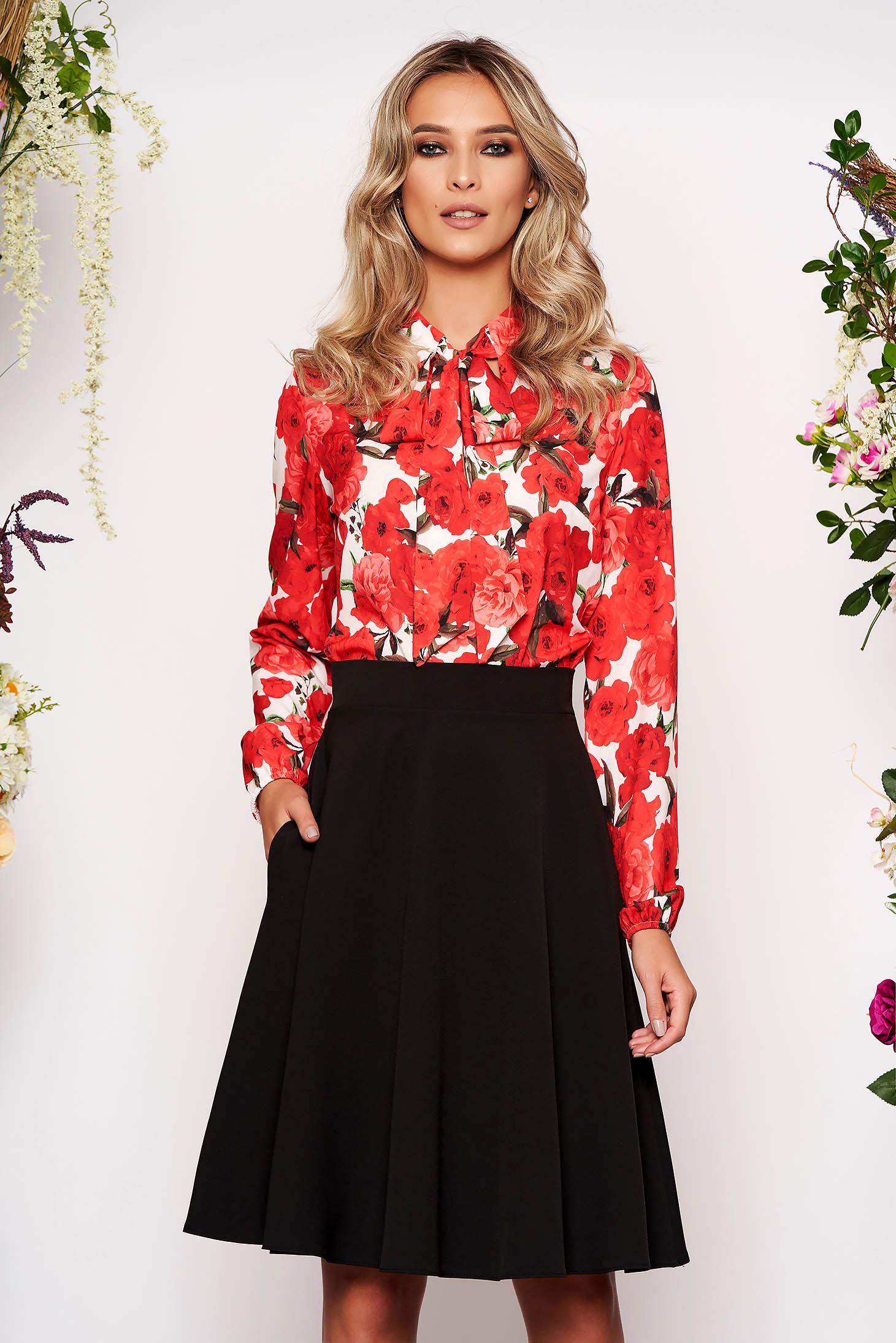 Bluza dama StarShinerS rosie scurta eleganta din material vaporos cu croi larg cu maneci lungi prinse in elastic