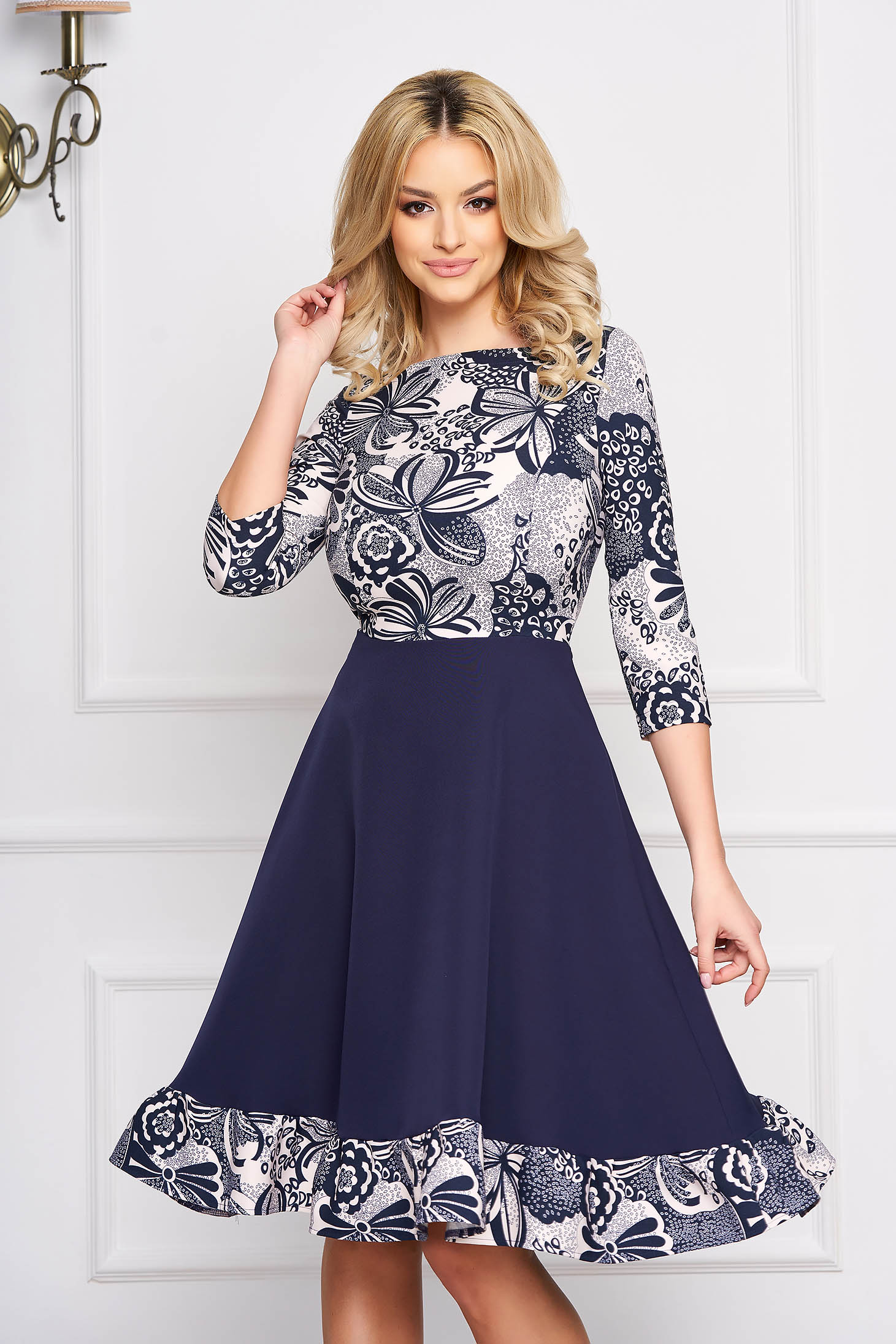 StarShinerS darkblue daily cloche dress with 3/4 sleeves from elastic fabric with floral print