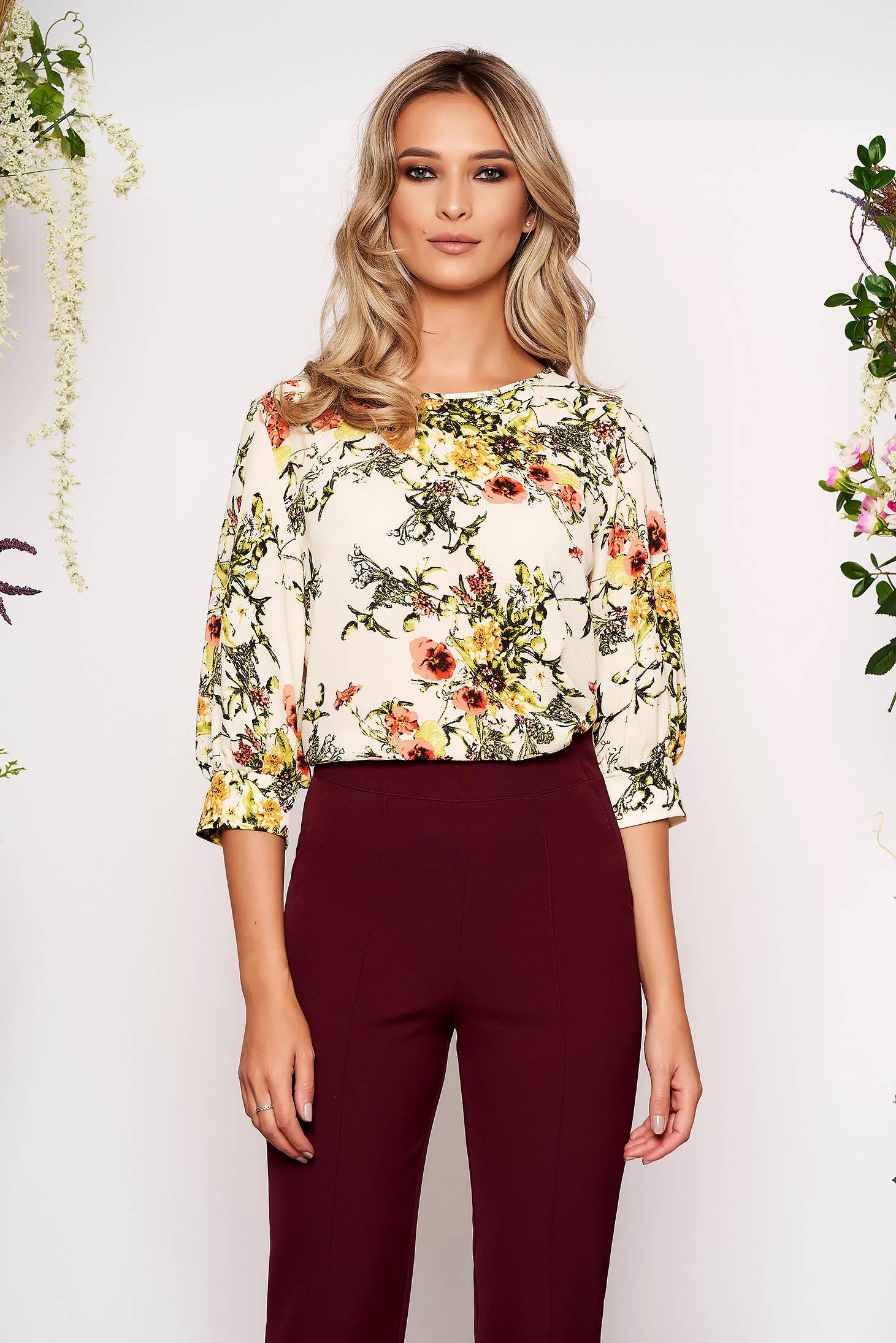Bluza dama StarShinerS crem scurta office cu croi larg din voal creponat cu maneci trei-sferturi si imprimeu floral