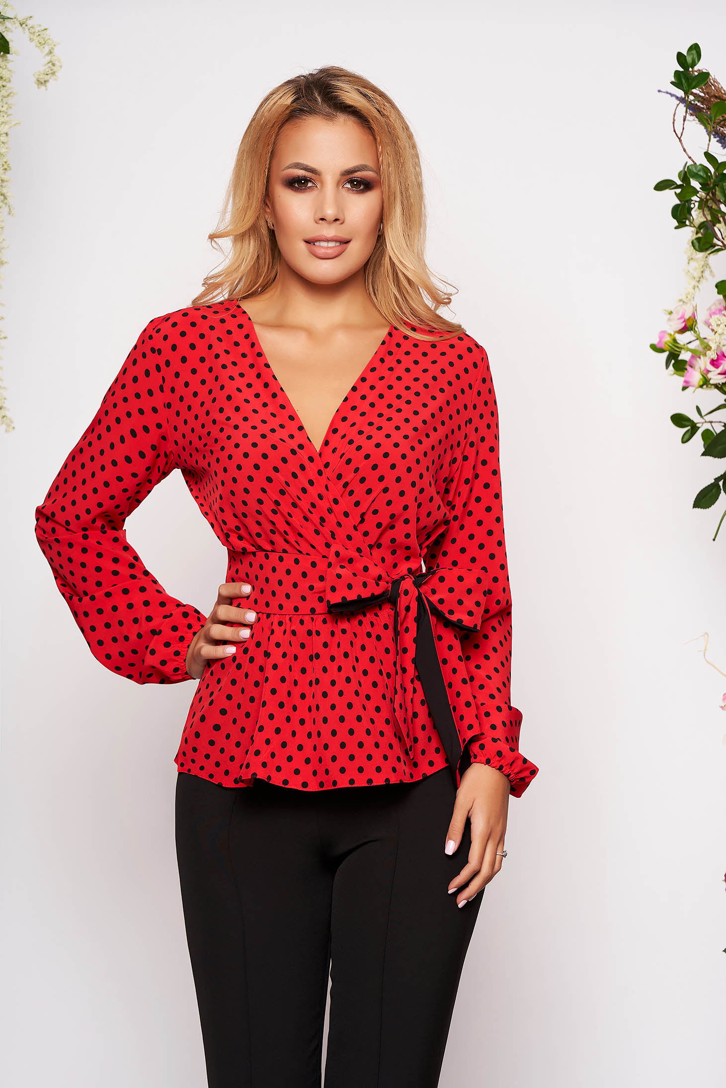 StarShinerS red office women`s blouse with easy cut with v-neckline thin fabric with dots print