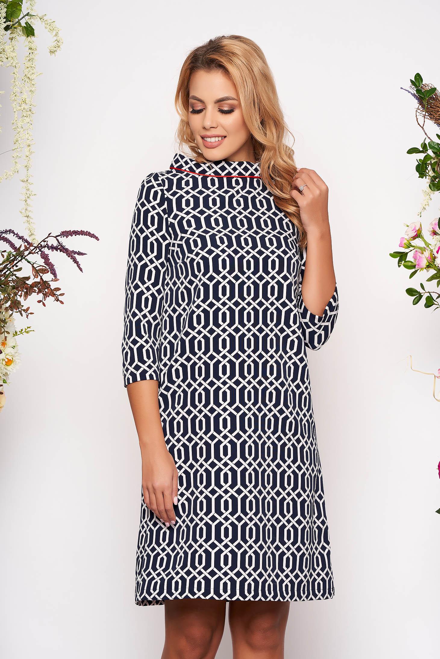 StarShinerS darkblue daily flared dress 3/4 sleeve slightly elastic fabric