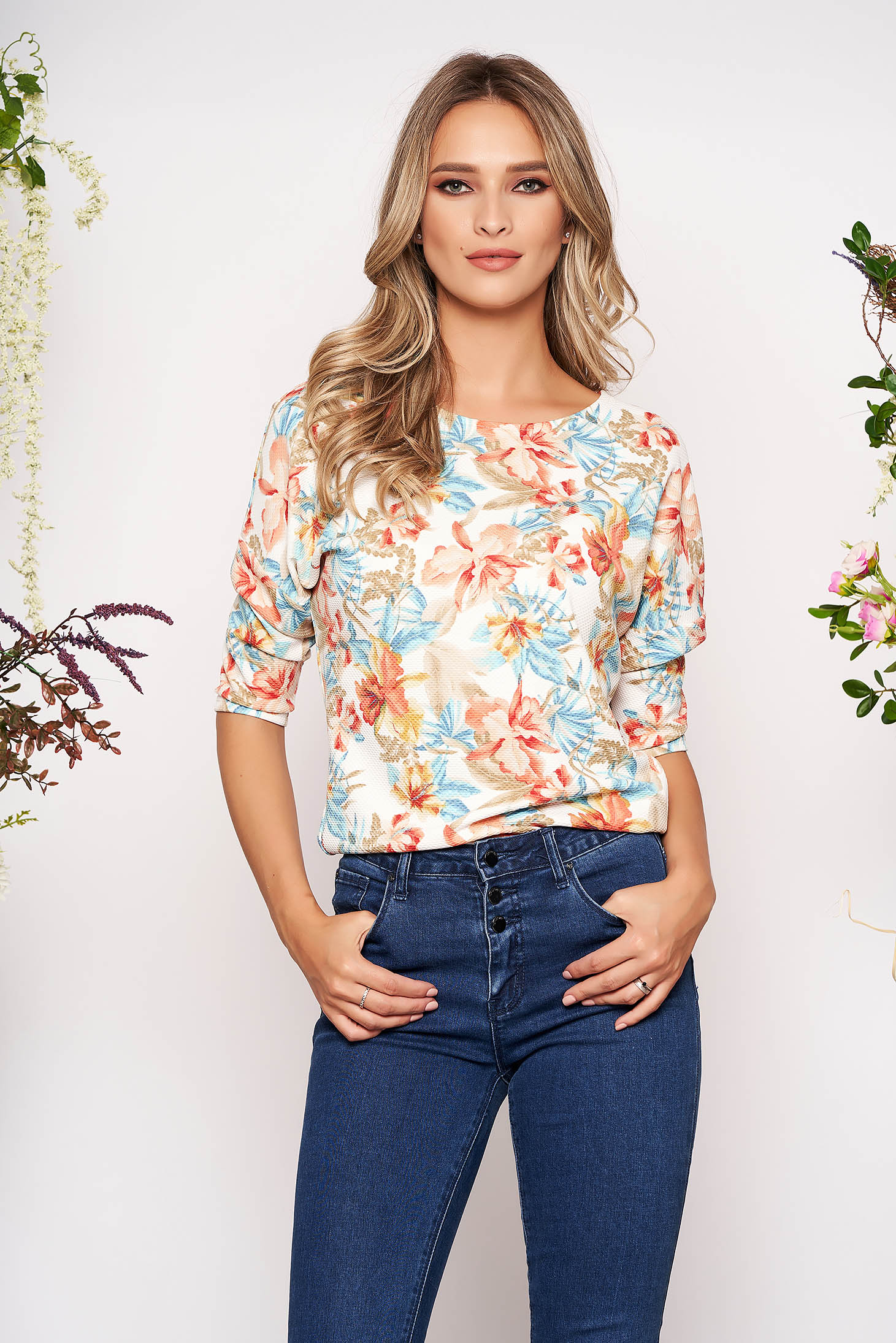 StarShinerS white casual women`s blouse slightly elastic fabric wrinkled material with floral prints 3/4 sleeve