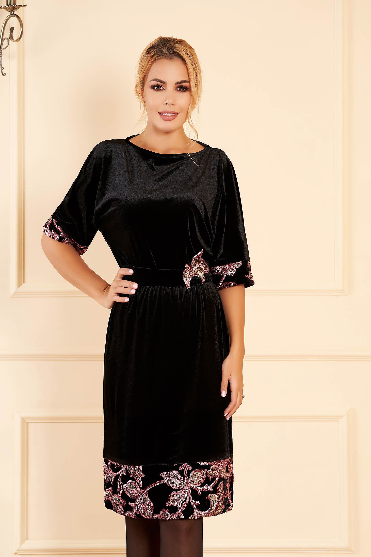 Black StarShinerS occasional elegant dress straight velvet with sequin embellished details detachable cord short sleeves