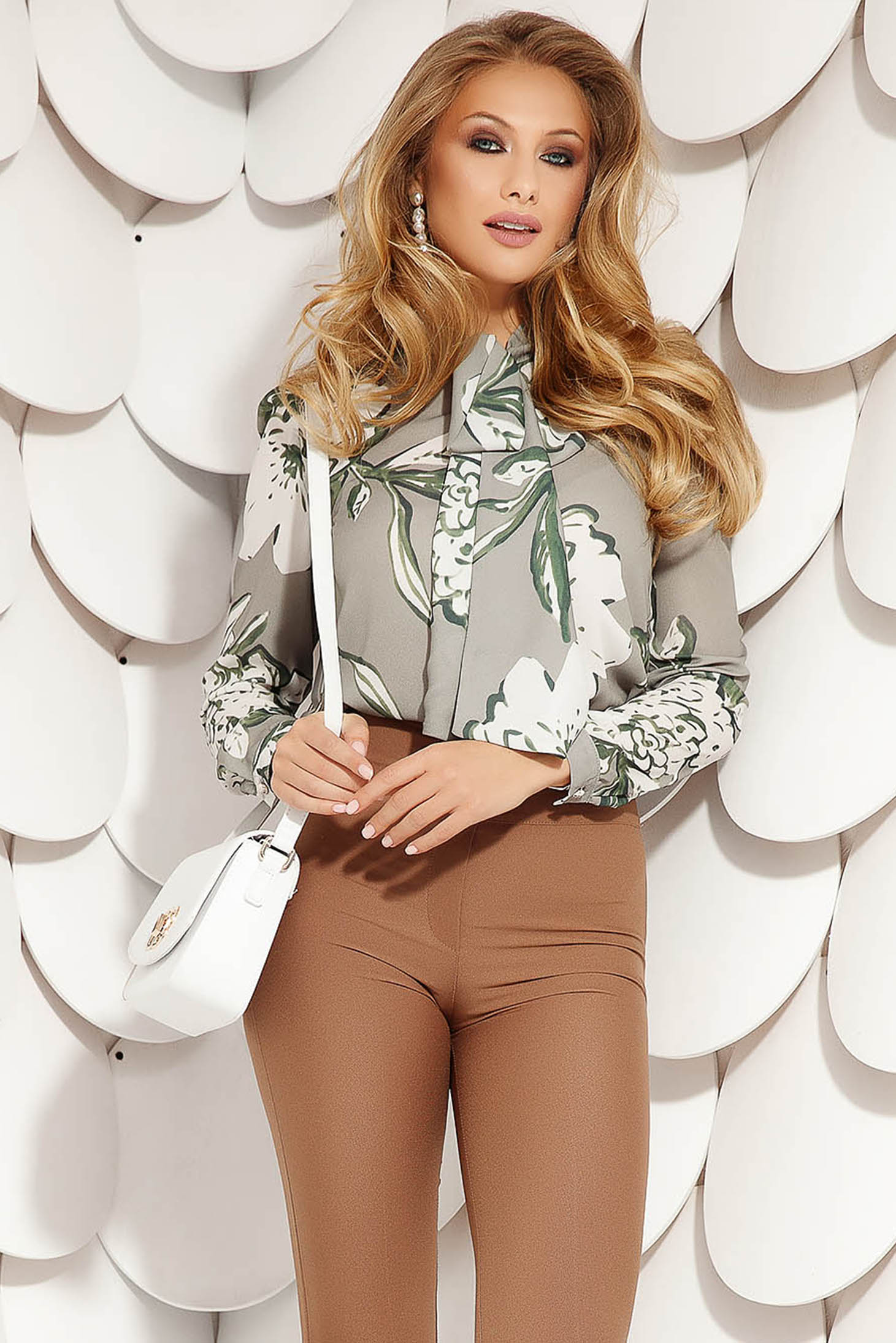 Grey women`s blouse elegant short cut flared from veil fabric with floral print