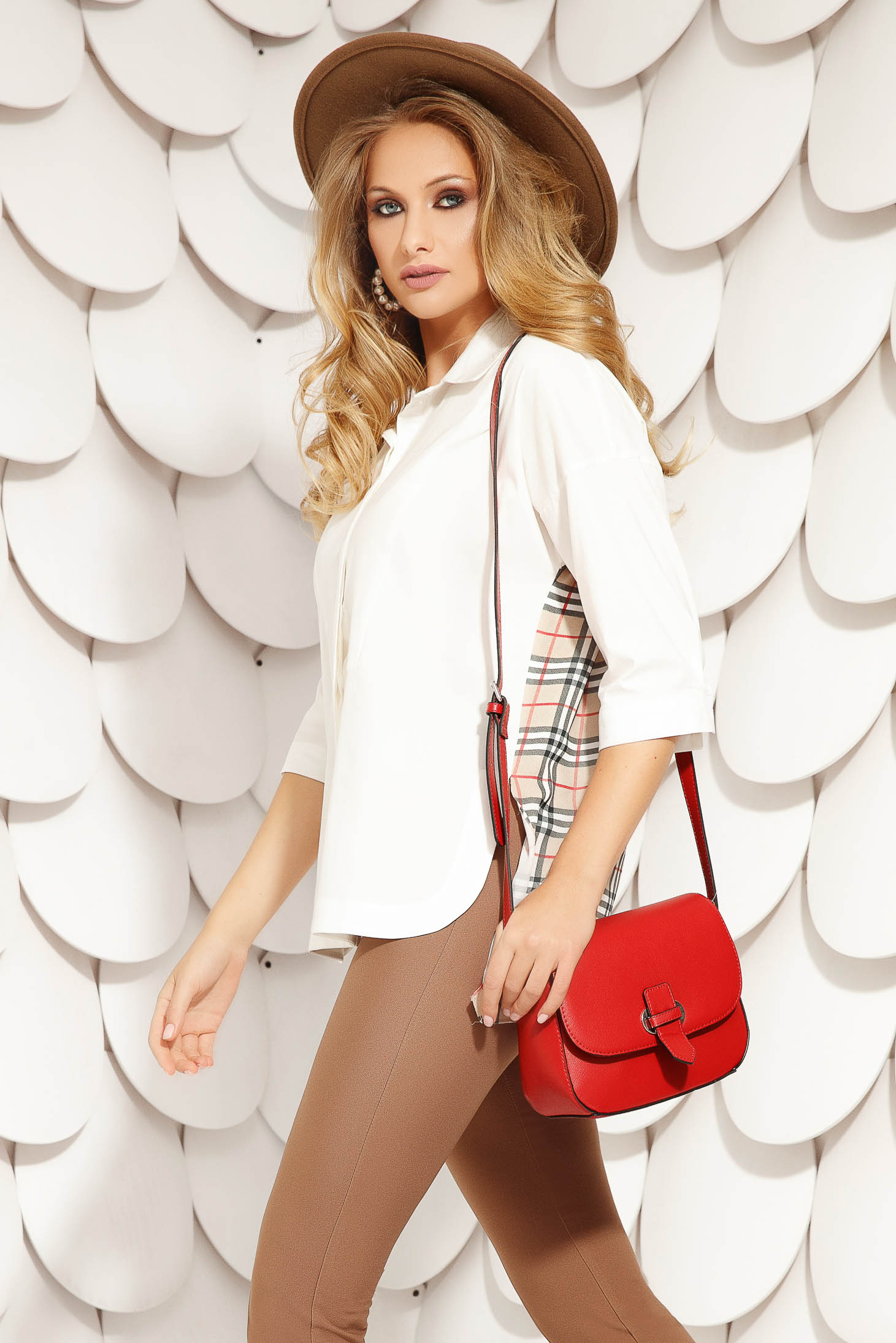 White women`s shirt office short cut asymmetrical flared with 3/4 sleeves from elastic fabric with chequers