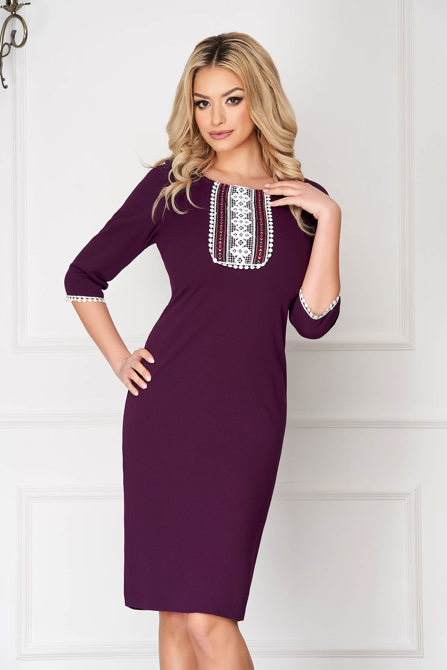 Purple dress elegant midi pencil cloth from elastic fabric with 3/4 sleeves with rounded cleavage