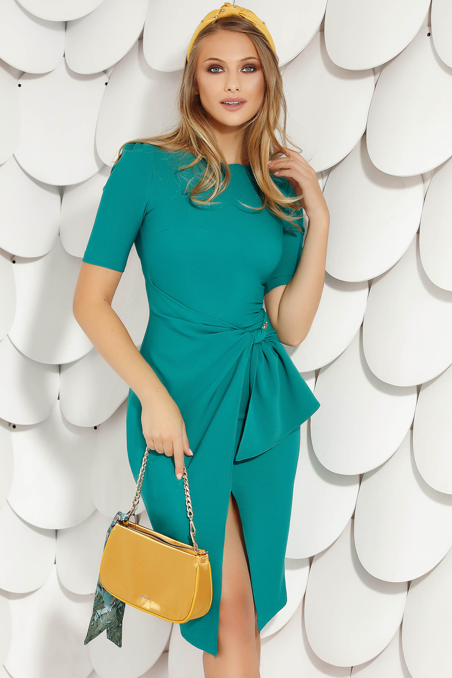 Dirty green elegant midi pencil dress cloth from elastic fabric short sleeves wrap over skirt