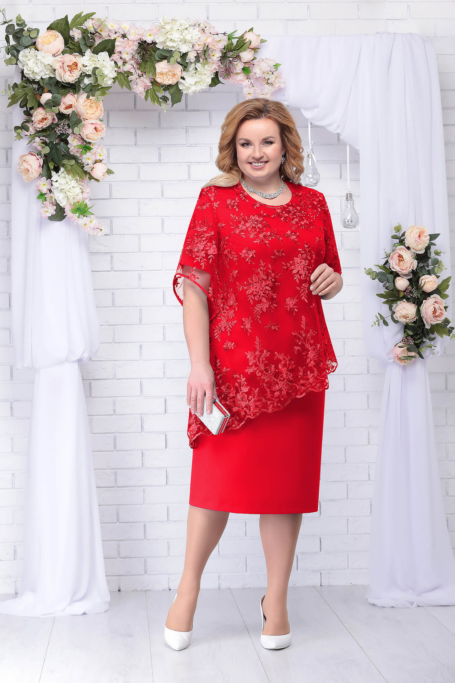Compleu rosu elegant din 2 piese cu rochie