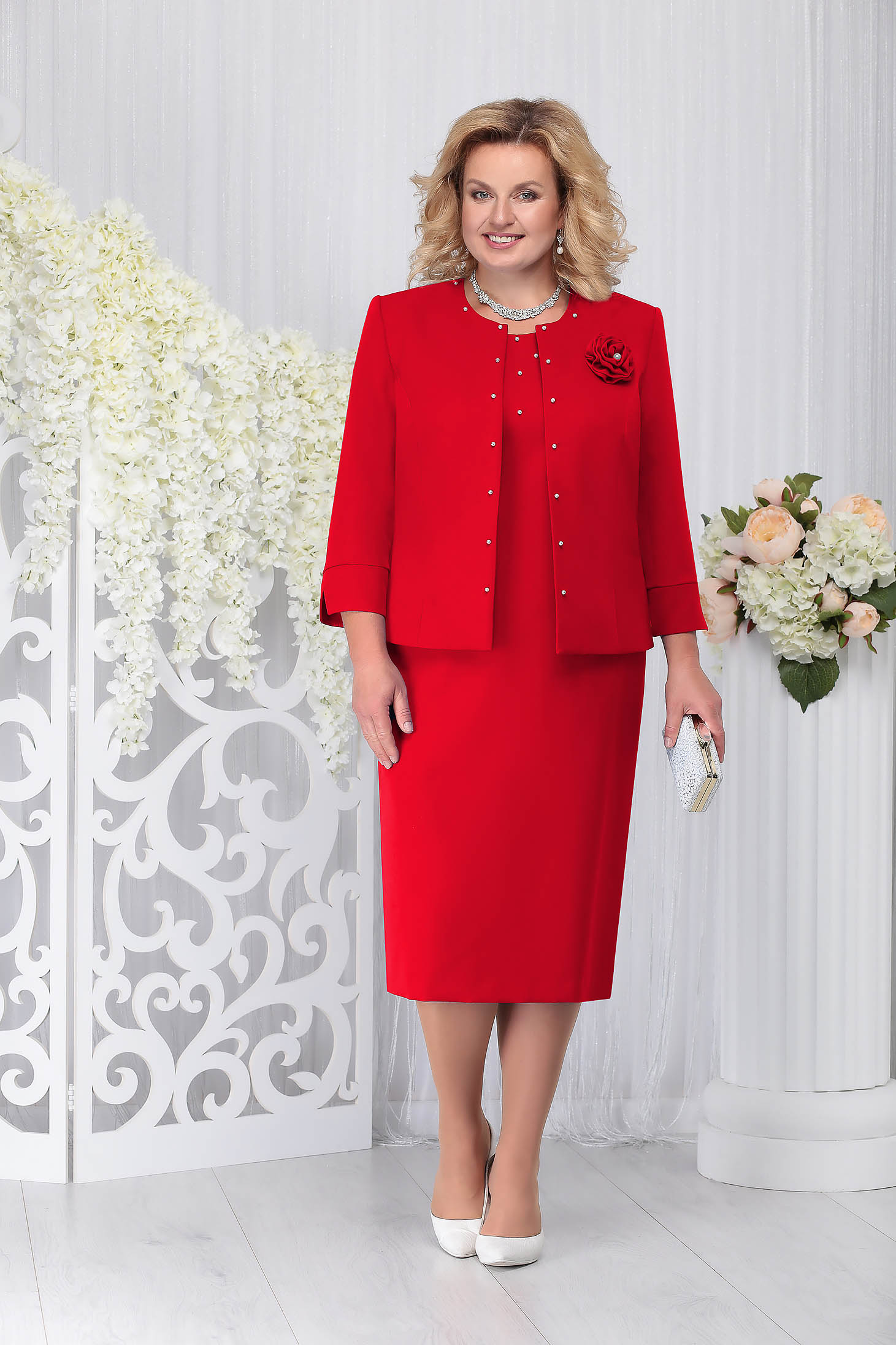 Red elegant 2 pieces lady set with dress