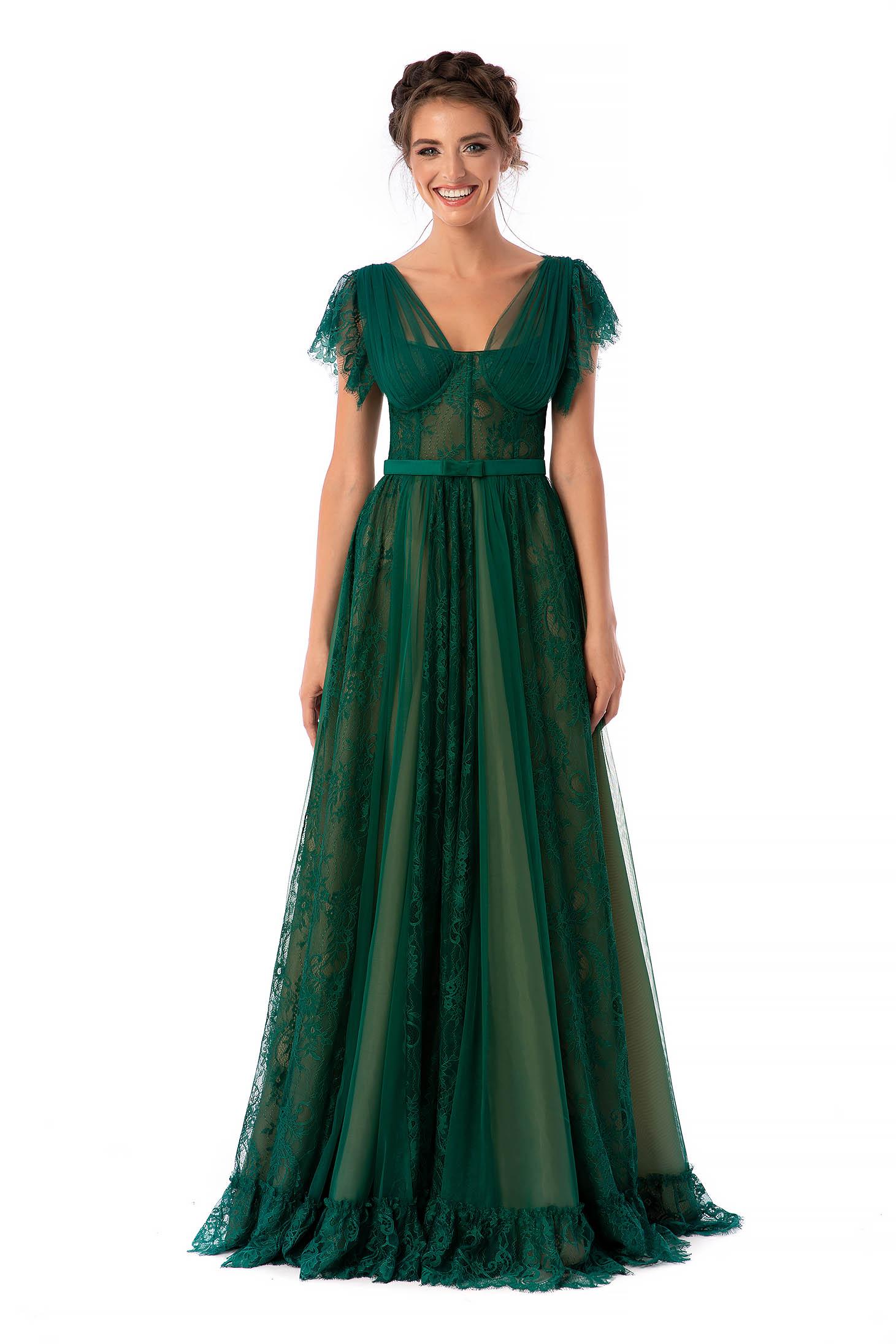 Zöld Ana Radu fűzős a pántoknál fodros luxus harang hosszú ruha csipkés anyagból eltávolítható övvel