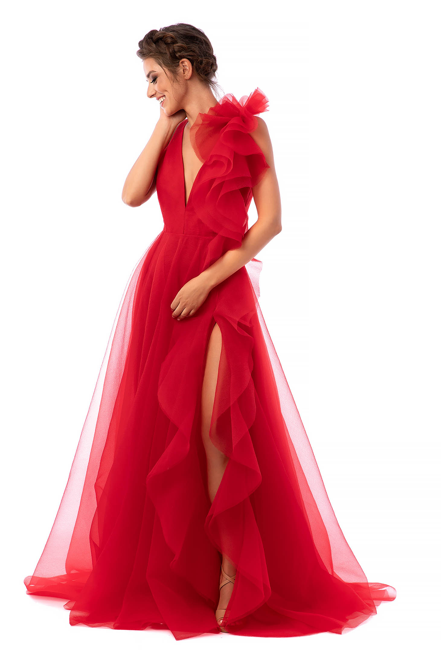 Ana Radu red occasional dress with v-neckline flaring cut from tulle