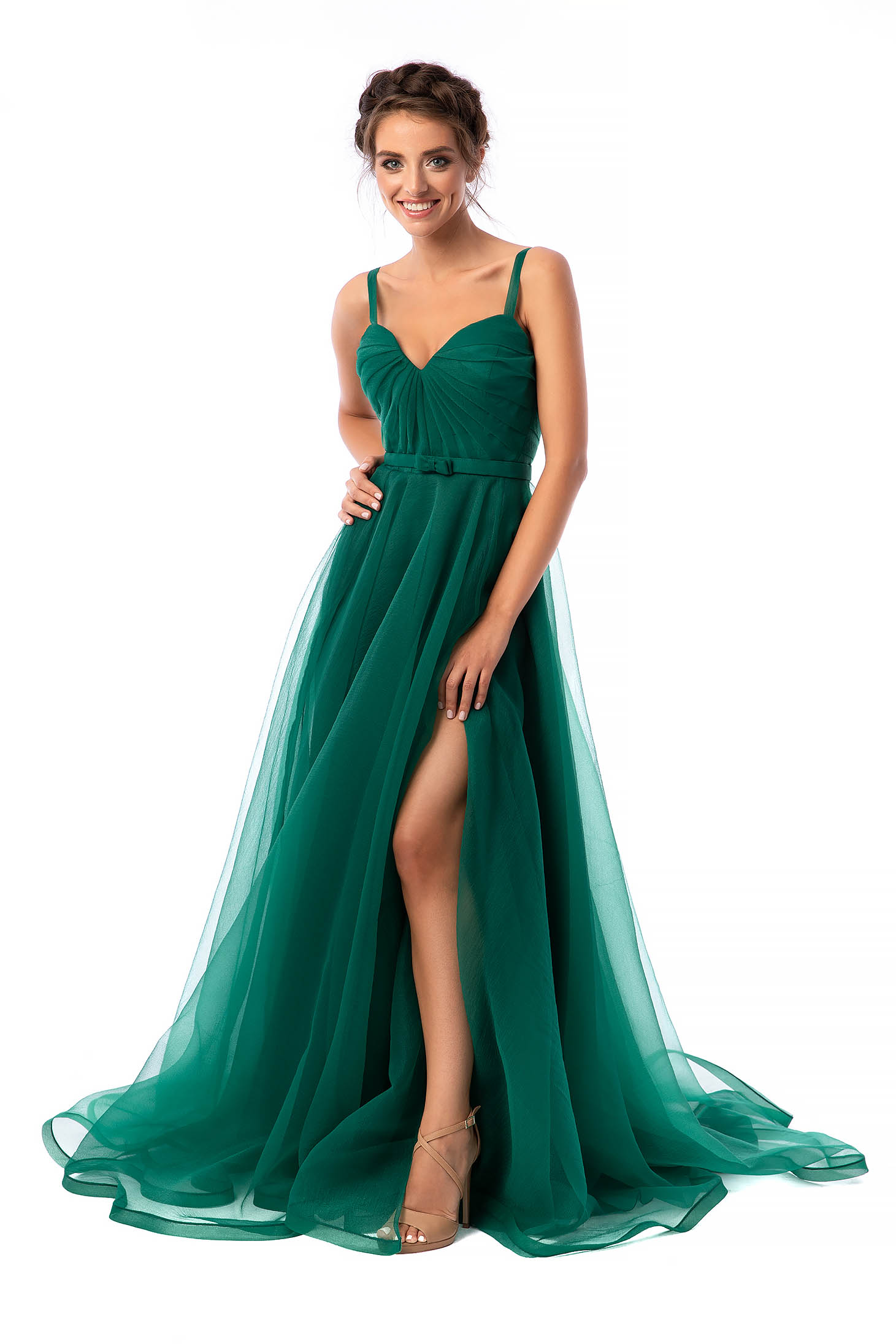 Ana Radu green occasional flaring cut dress with v-neckline from tulle