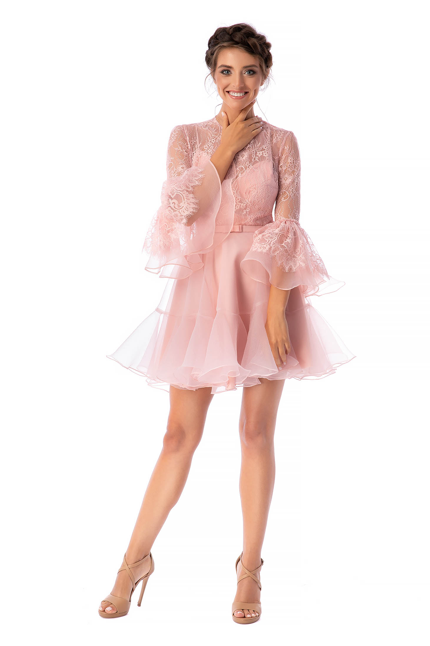 Ana Radu lightpink luxurious short cut laced cloche dress from veil fabric with bell sleeve with 3/4 sleeves