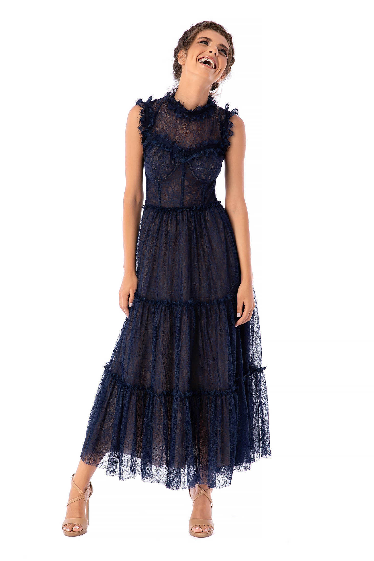 Ana Radu darkblue dress luxurious occasional with turtle neck laced midi cloche corset sleeveless