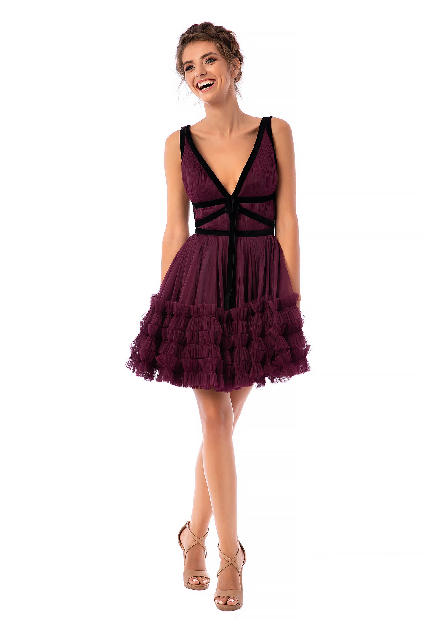 Ana Radu purple dress luxurious short cut cloche from tulle velvet insertions sleeveless with deep cleavage
