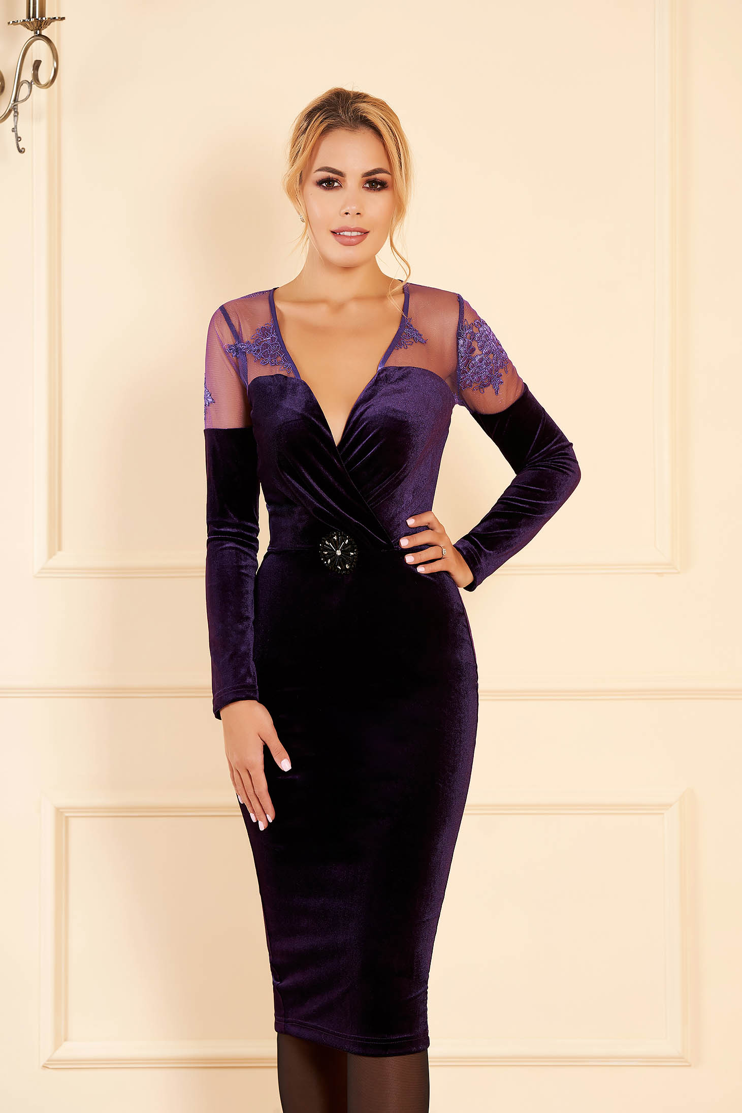Occasional velvet pencil purple dress with a cleavage