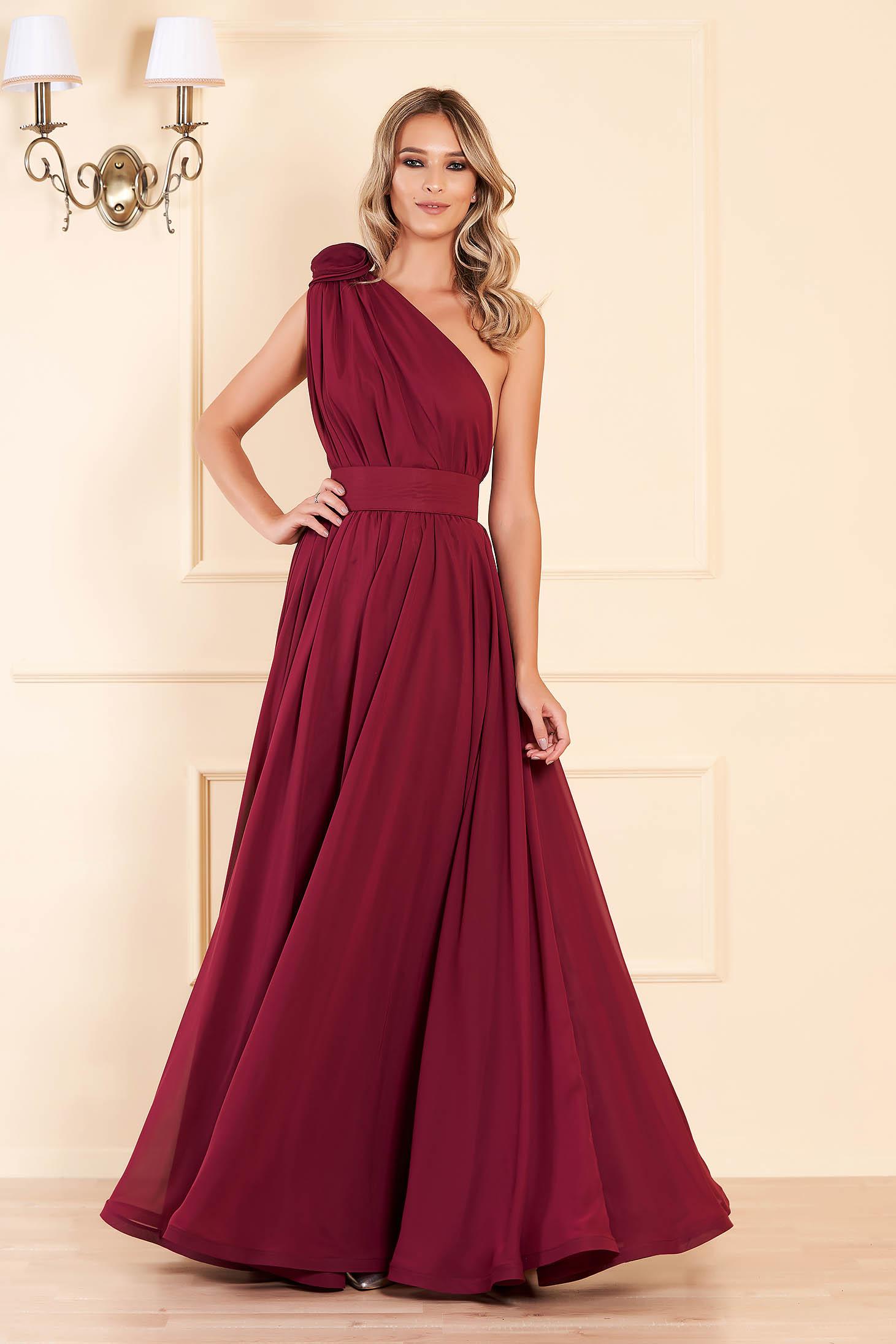 Ana Radu burgundy cloche dress from veil fabric accessorized with tied waistband long one shoulder luxurious