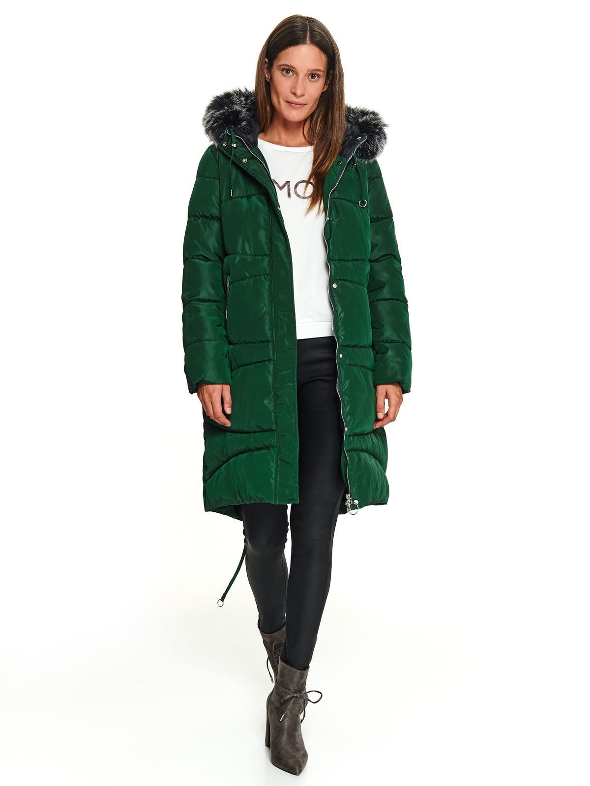 Darkgreen jacket casual midi the jacket has hood and pockets