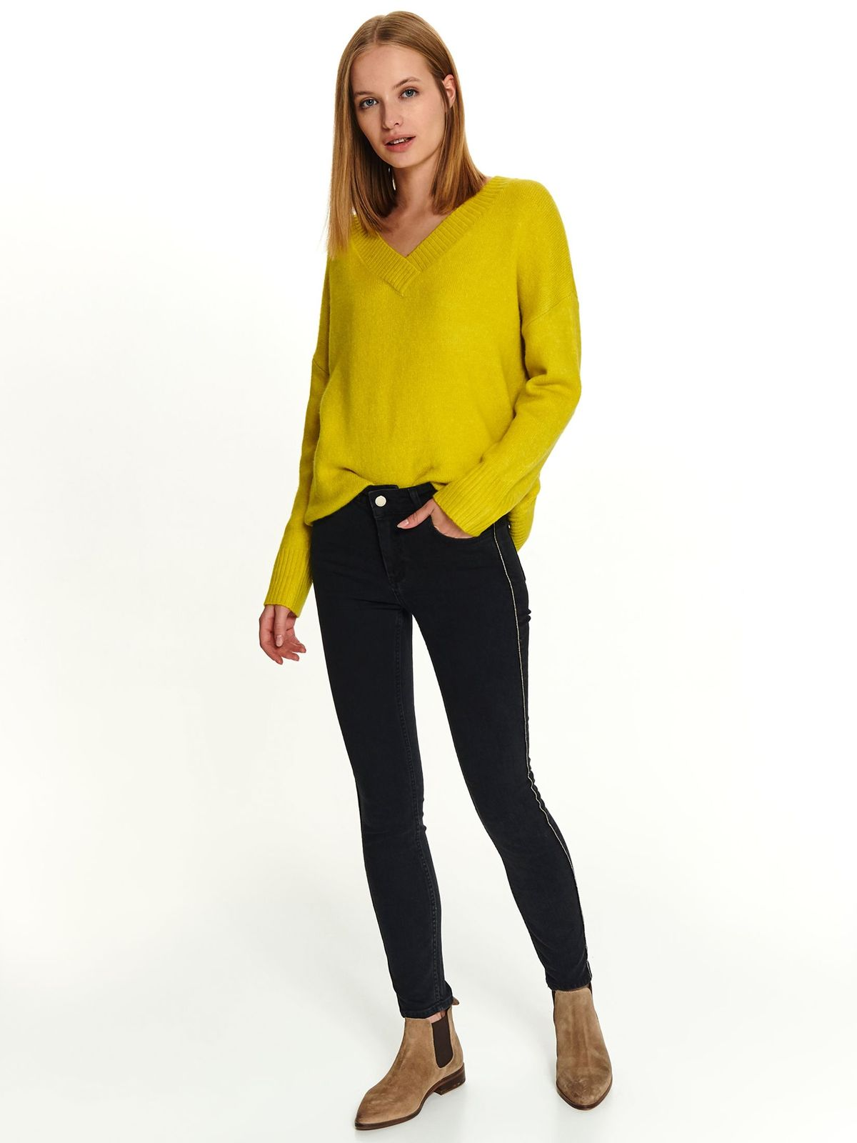 Black casual trousers medium waist slightly elastic cotton