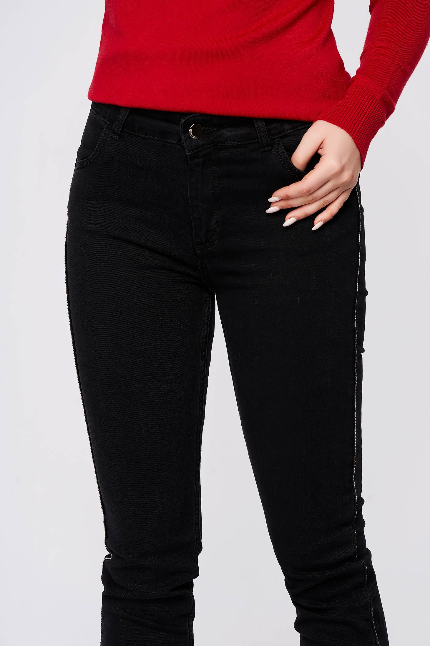 Fekete casual nadrág enyhén elasztikus pamutból
