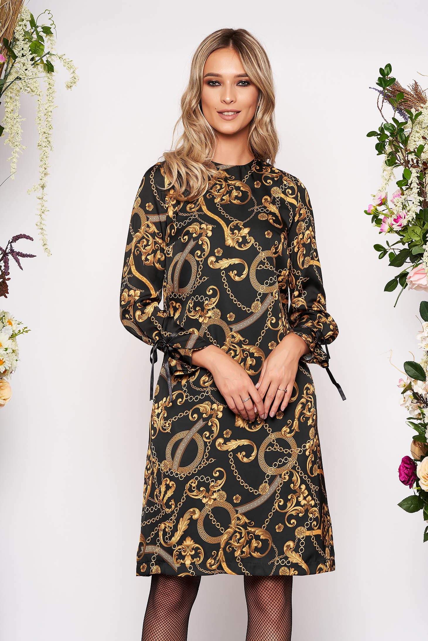 Black dress daily midi flared with graphic details long sleeved airy fabric neckline