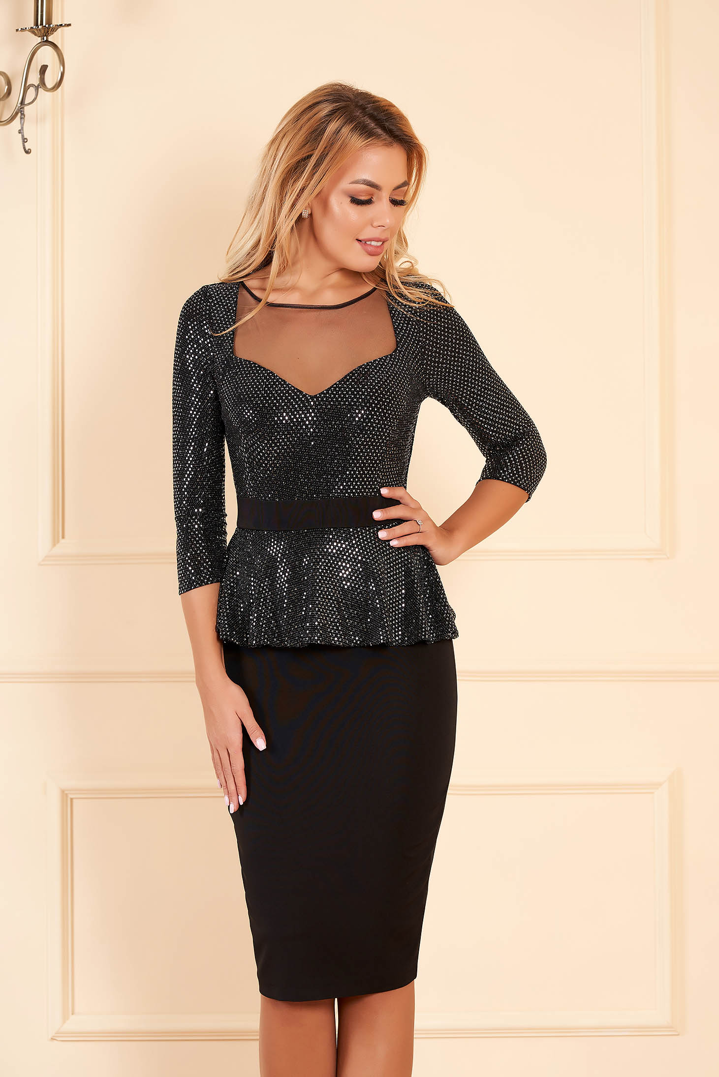 Black occasional dress with tented cut with a cleavage with frilled waist