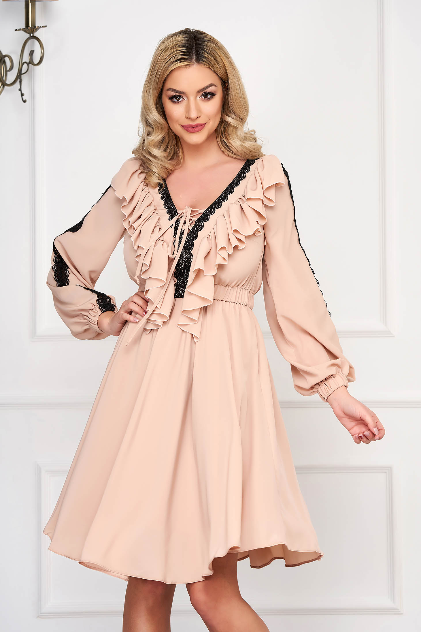 Cream elegant cloche dress with v-neckline voile fabric with lace details