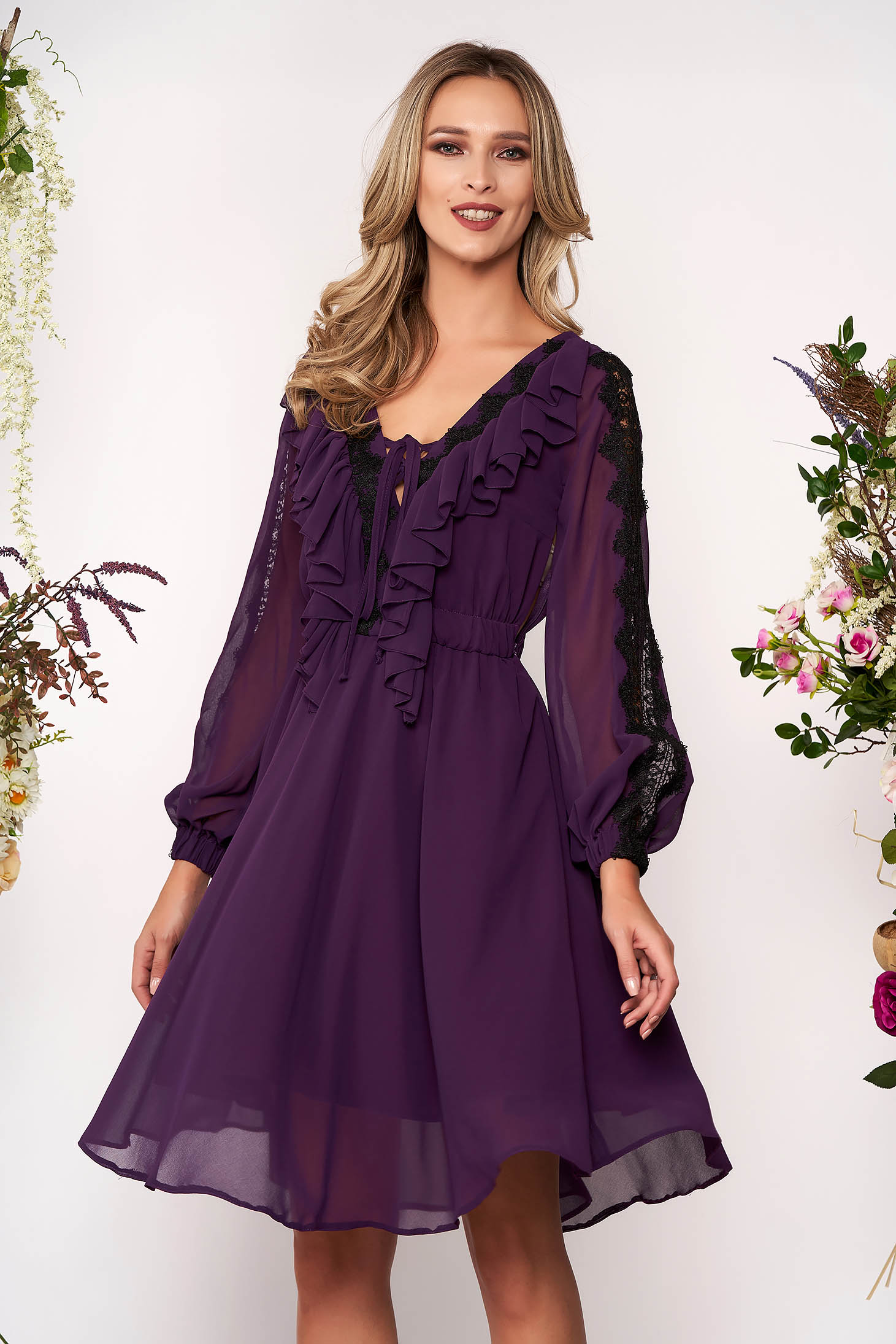 Purple elegant cloche dress with v-neckline voile fabric with lace details