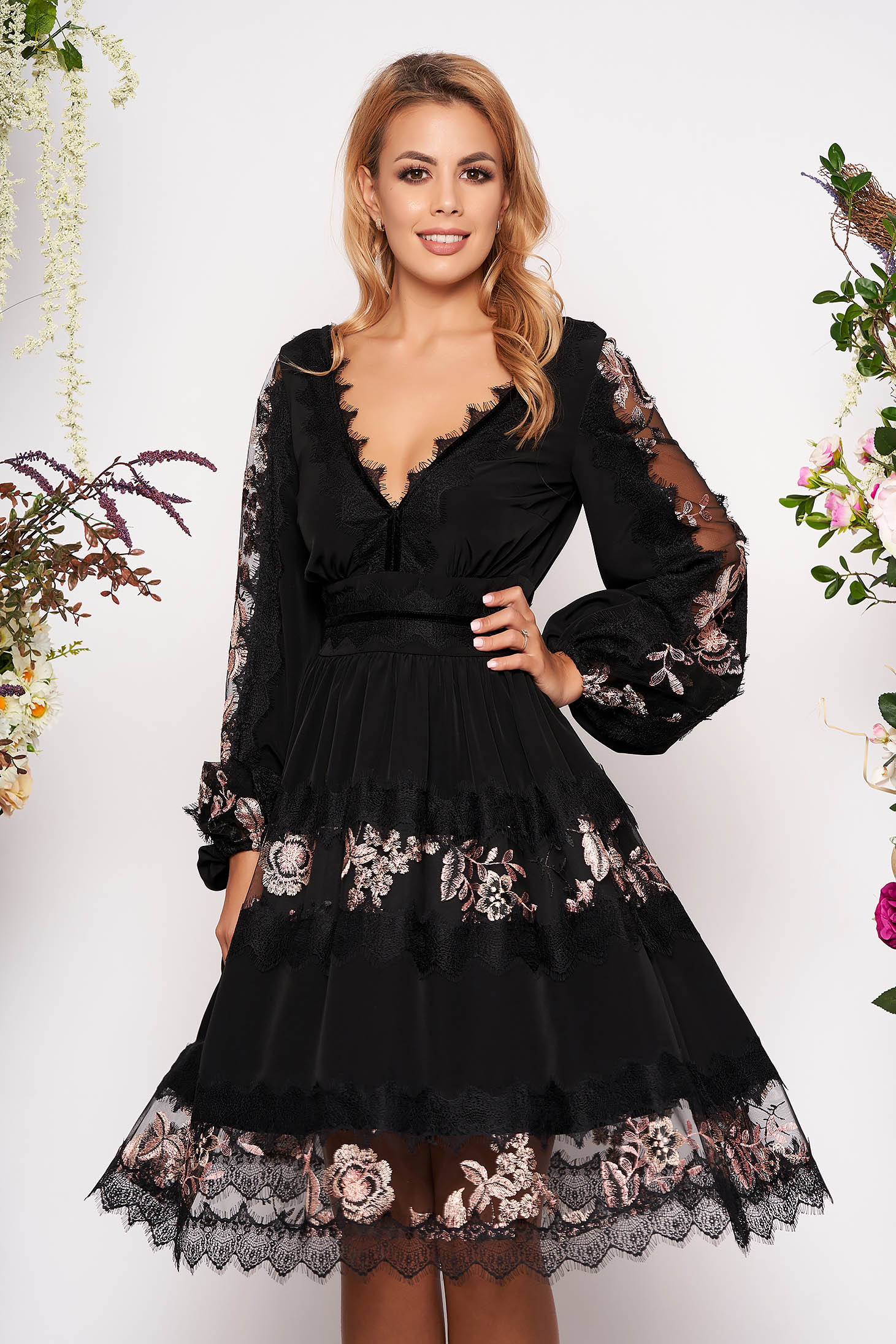 Black elegant flaring cut dress voile fabric with lace details