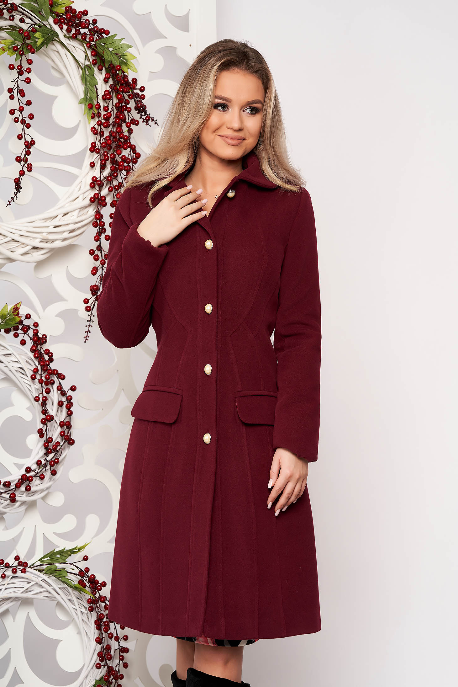 Burgundy office coat from thick fabric with inside lining arched cut