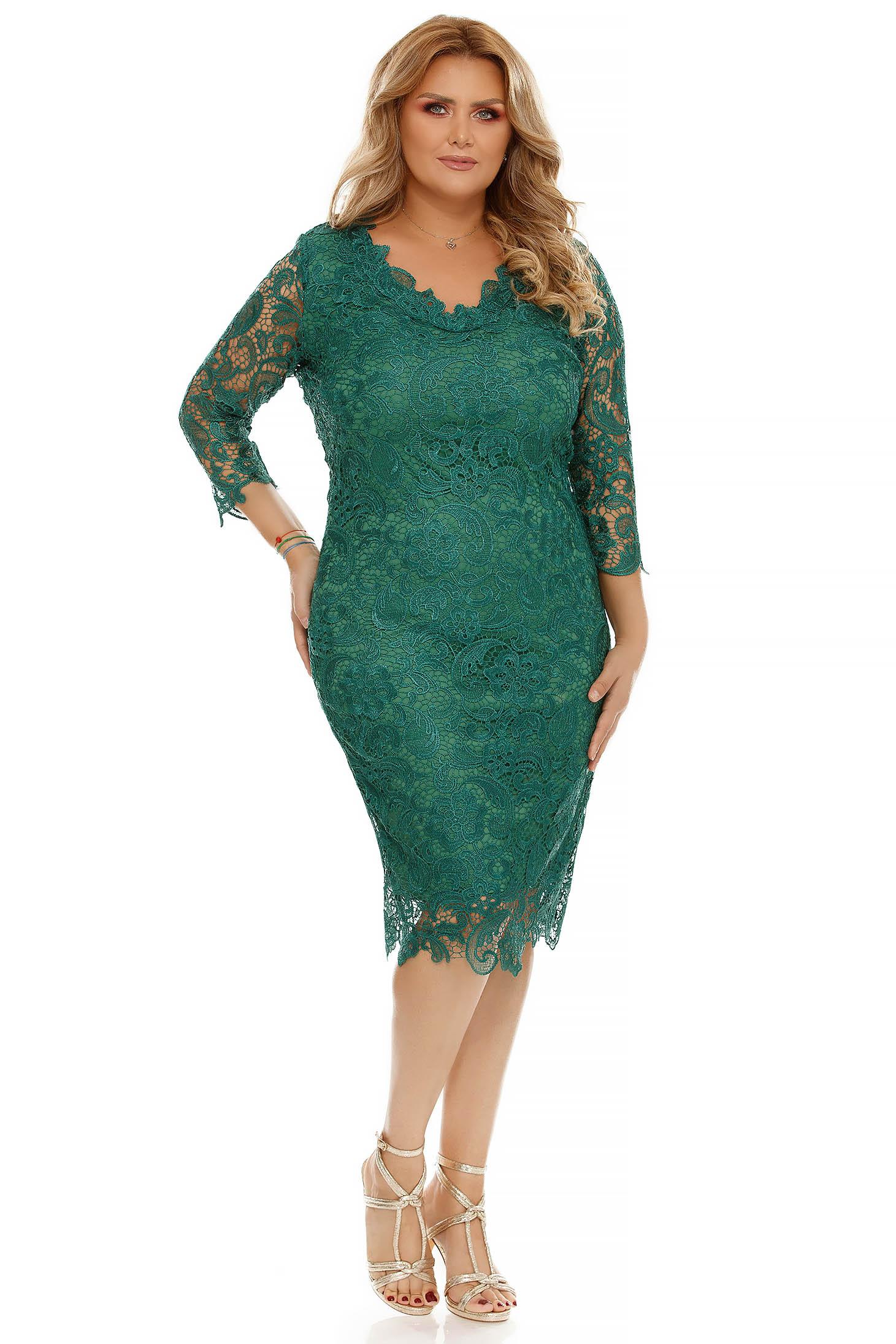 Rochie verde midi de ocazie tip creion din dantela cu maneci trei-sferturi cu decolteu in v si captusita pe interior