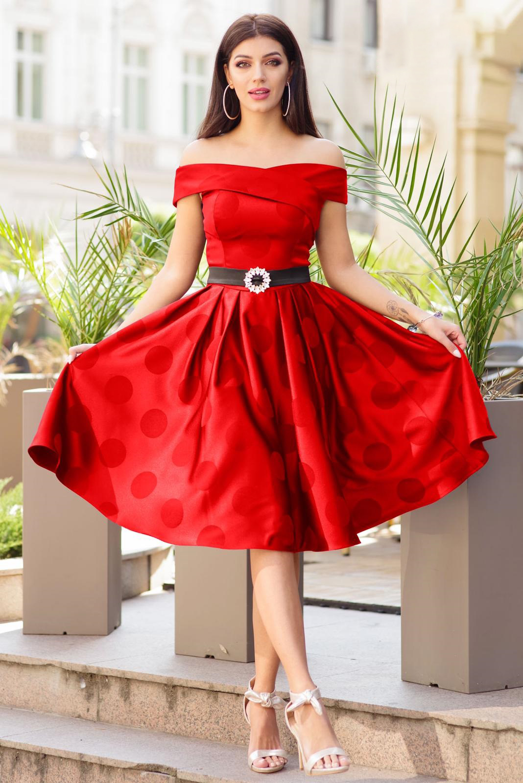 Red dress occasional midi cloche from satin fabric texture naked shoulders dots print