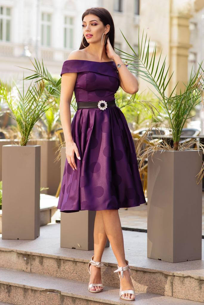 Purple dress occasional midi cloche from satin fabric texture naked shoulders dots print