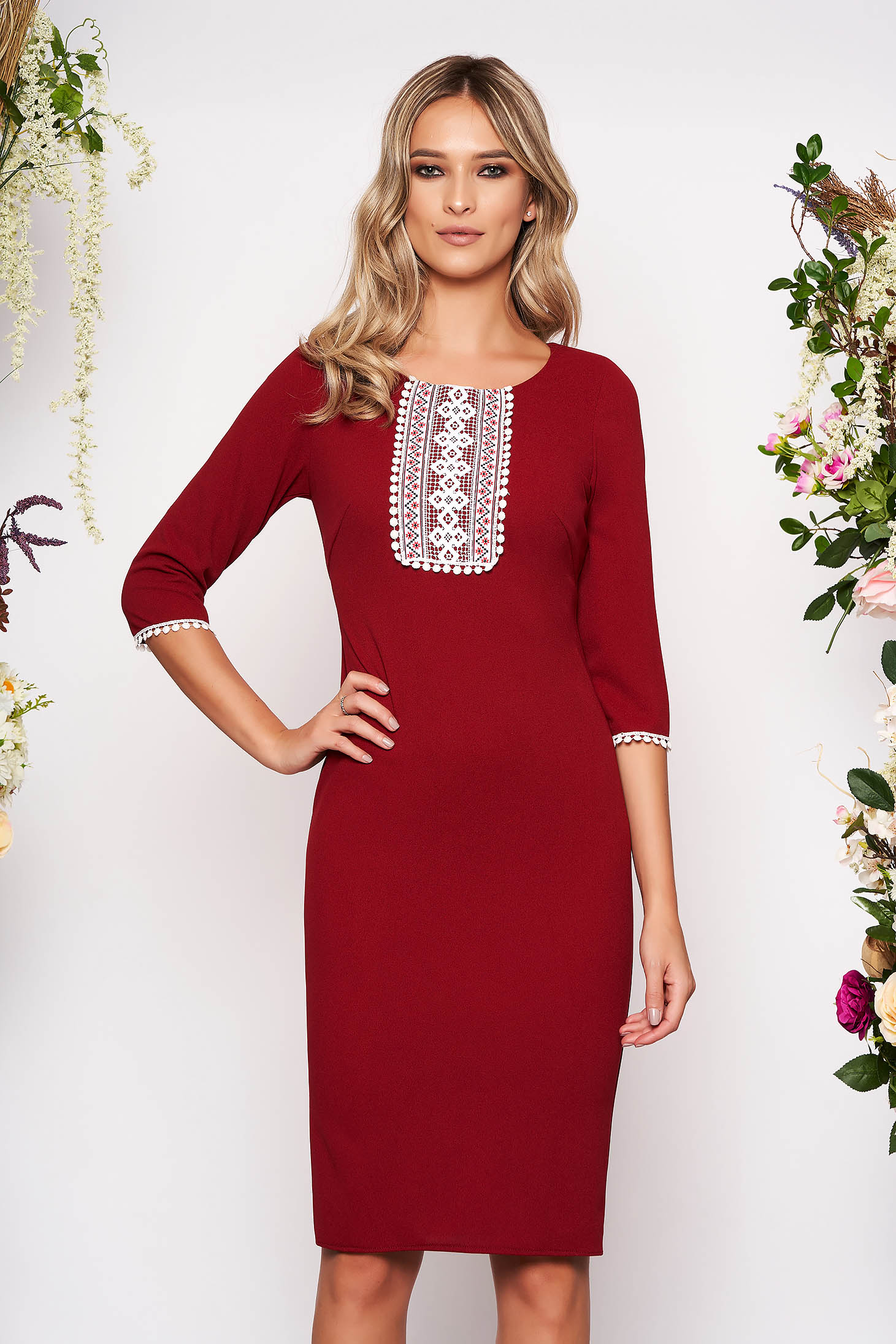 Burgundy dress elegant midi pencil cloth from elastic fabric with 3/4 sleeves with rounded cleavage