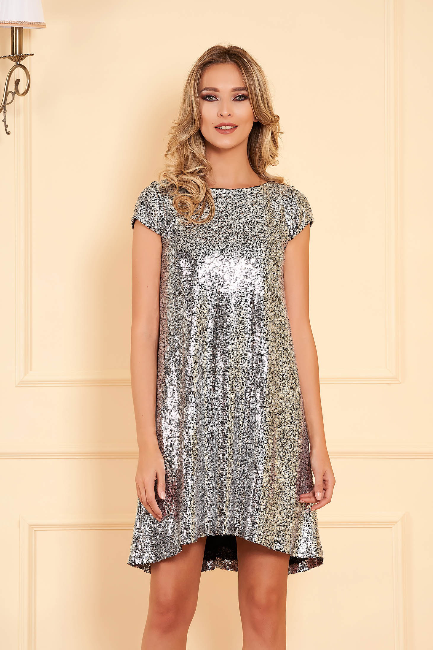 StarShinerS silver occasional asymmetrical flared dress with sequins with inside lining